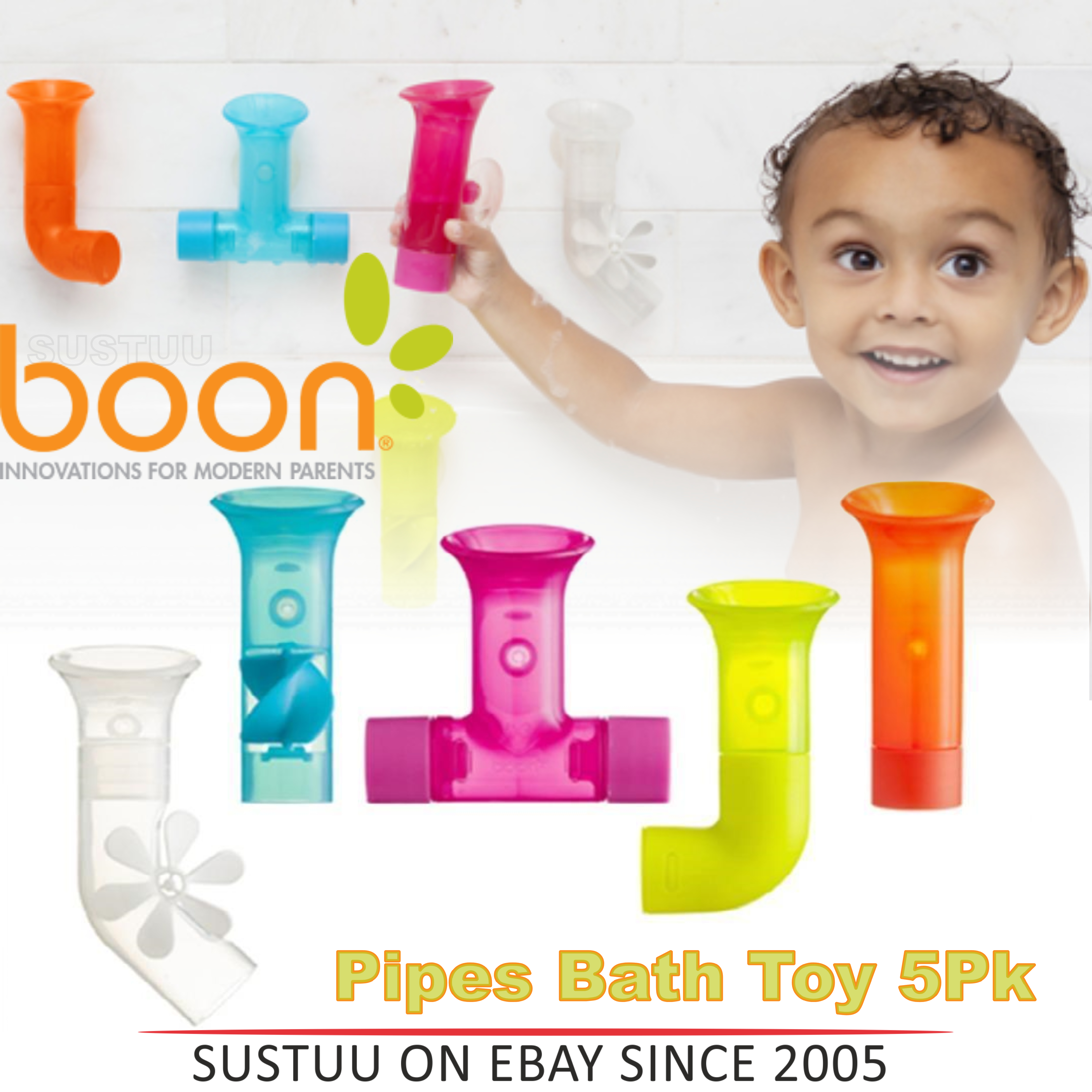 Boon Baby Pipes Bath Toy|Unique Shape|BPA PVC Phthalate Free|Suction to Wall|5Pk