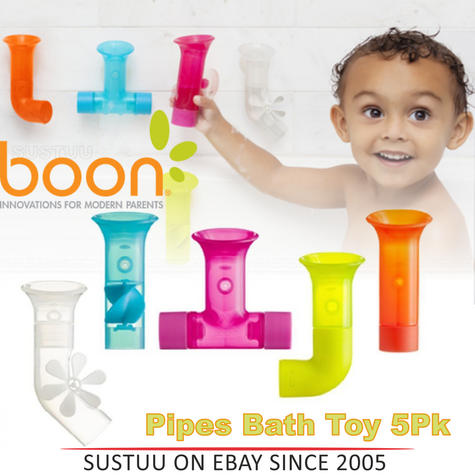 Boon Baby Pipes Bath Toy|Unique Shape|BPA PVC Phthalate Free|Suction to Wall|5Pk Thumbnail 1