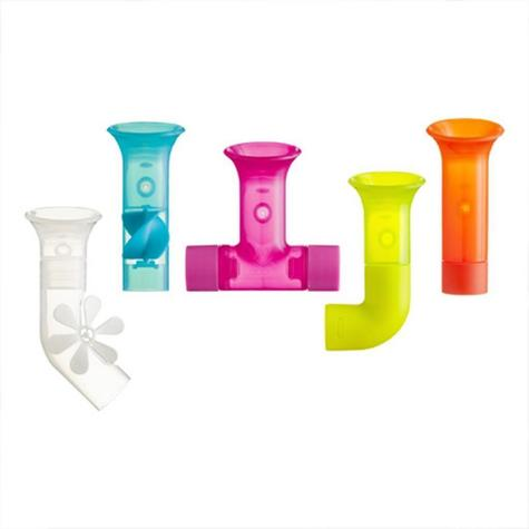 Boon Baby Pipes Bath Toy|Unique Shape|BPA PVC Phthalate Free|Suction to Wall|5Pk Thumbnail 2