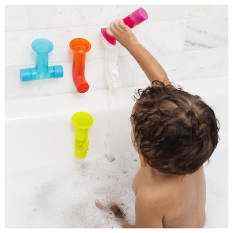 Boon Baby Pipes Bath Toy|Unique Shape|BPA PVC Phthalate Free|Suction to Wall|5Pk Thumbnail 3