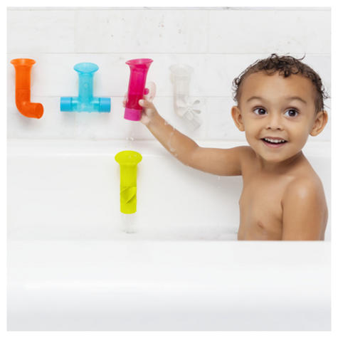 Boon Baby Pipes Bath Toy|Unique Shape|BPA PVC Phthalate Free|Suction to Wall|5Pk Thumbnail 4