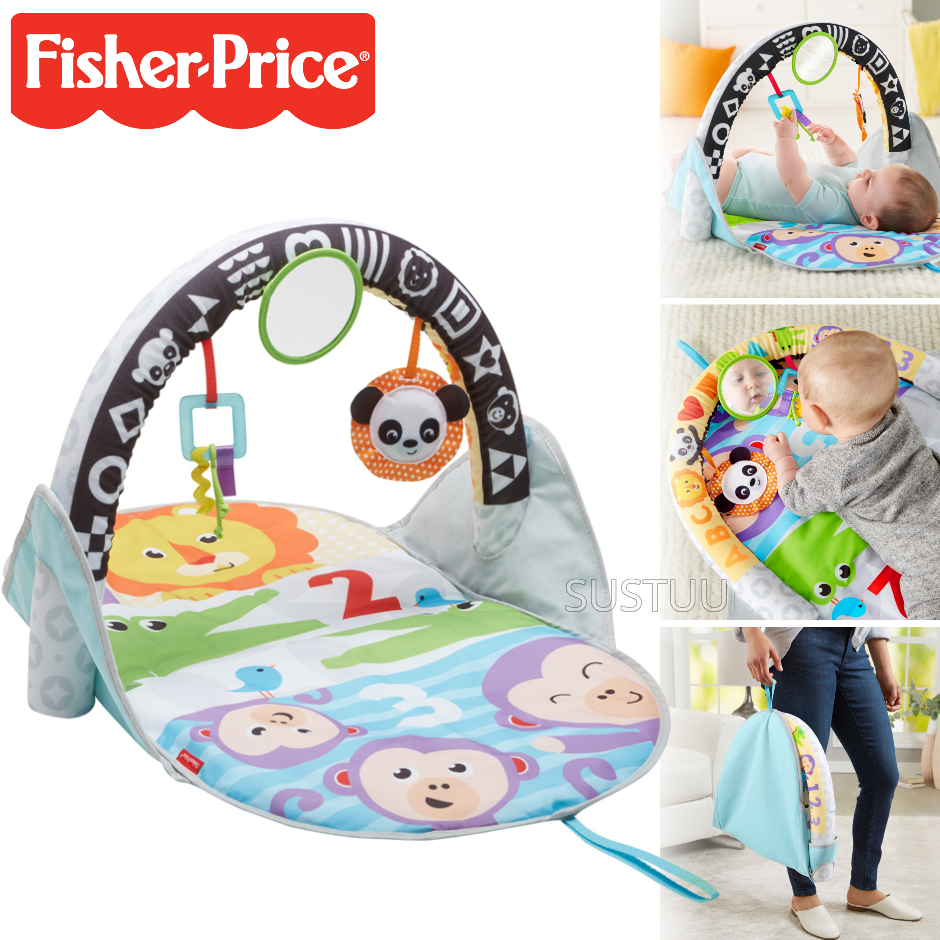 Fisher-Price Puppy n Pals Learning Gym | Light& Musical Playmat | Soft &Comfy | Washable | New