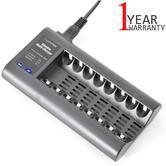Lloytron B1507 Slimline Multicharger For 8 x AA/AAA Batteries|LED Indicator|Blac