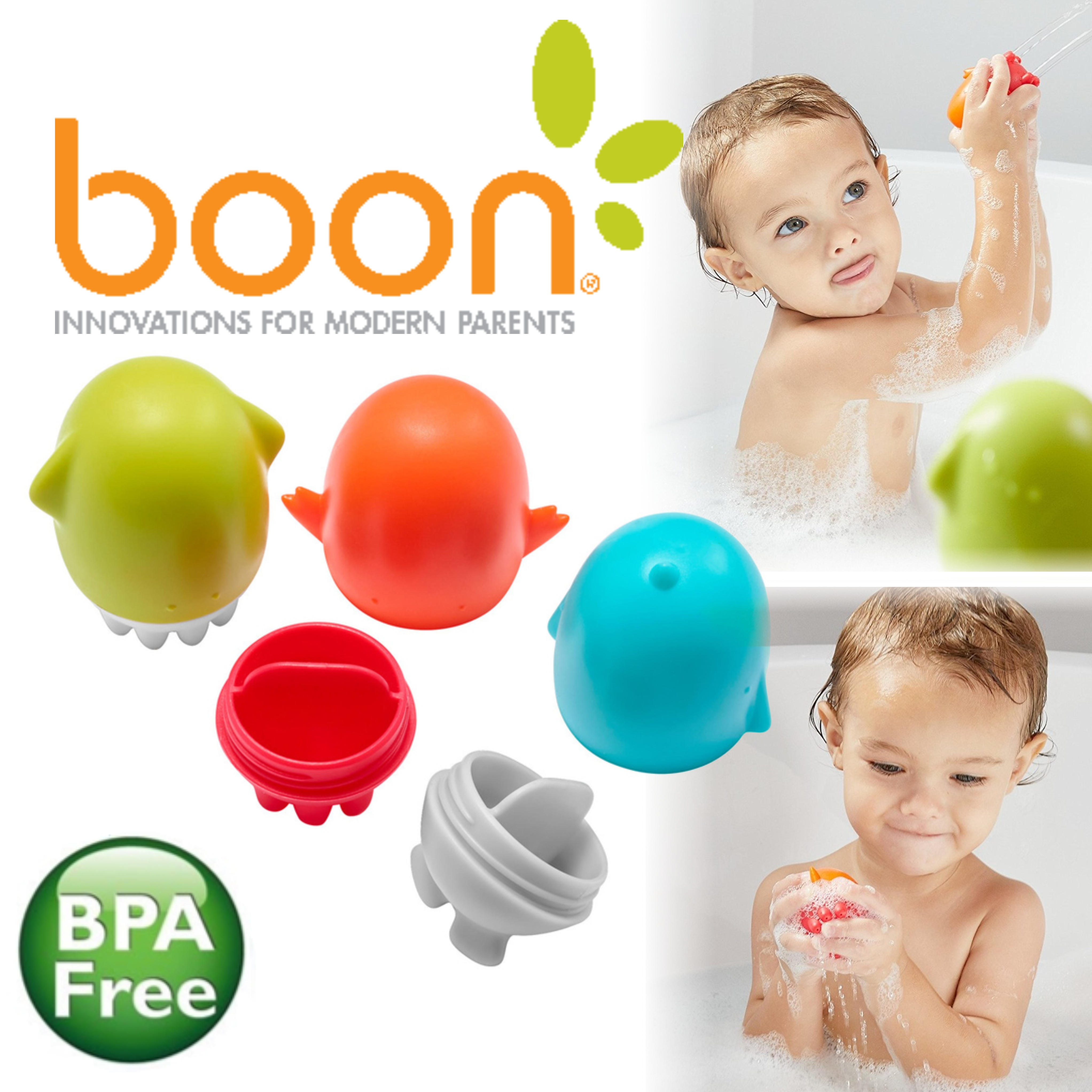 Boon SPURT Squirties Bath Toy|Kid's Funny Bathing Toy|Different Shapes|BPA Free|