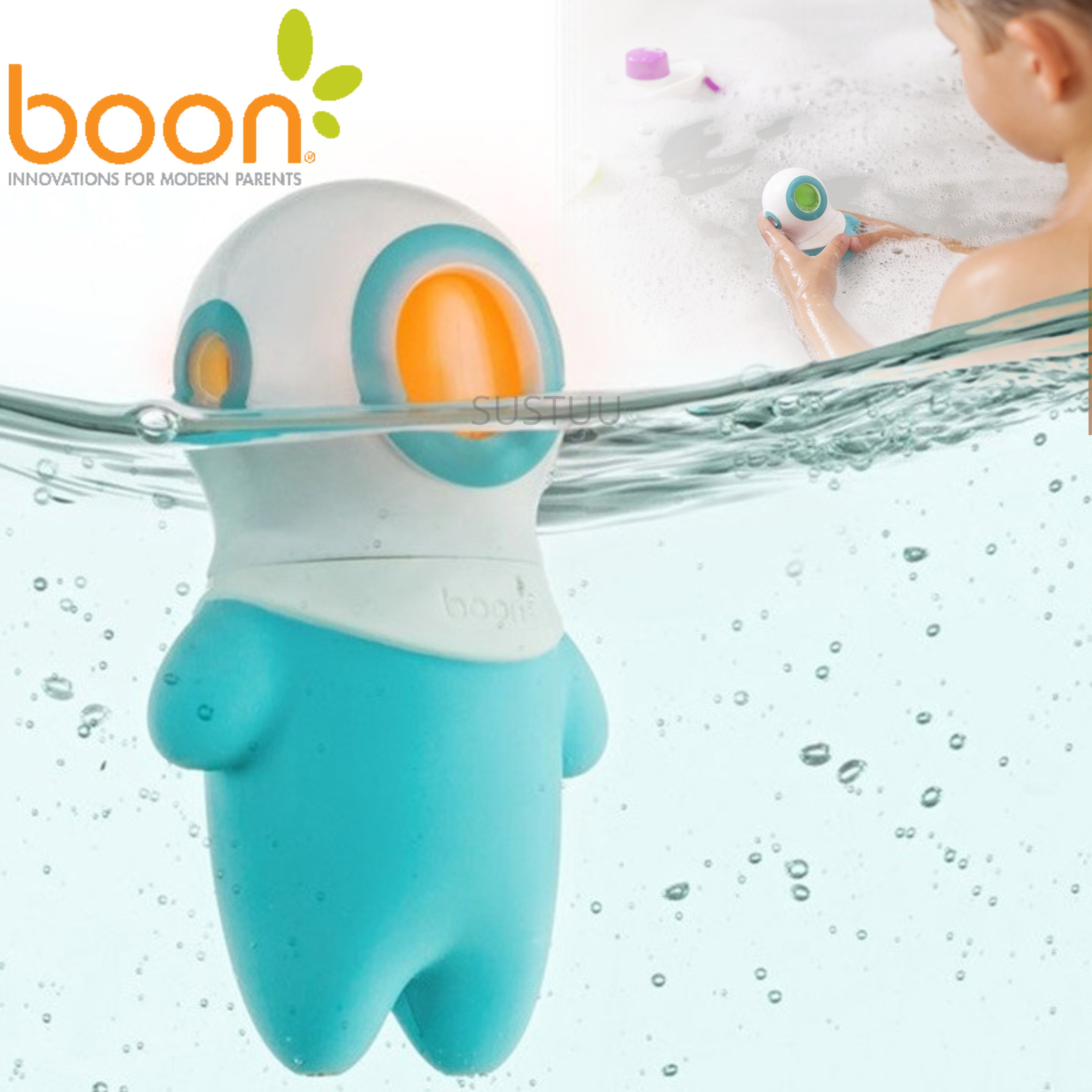 Boon Marco Light Up Kids Bath Toy | Colour-Changing Light Activated By Water | 3y+