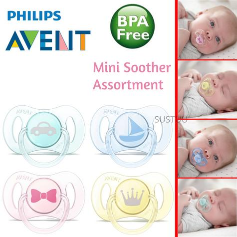 Philips Avent Mini Soother Assortment|Palate-Teeth-Gums Protector|0%BPA|0-2m  Thumbnail 1