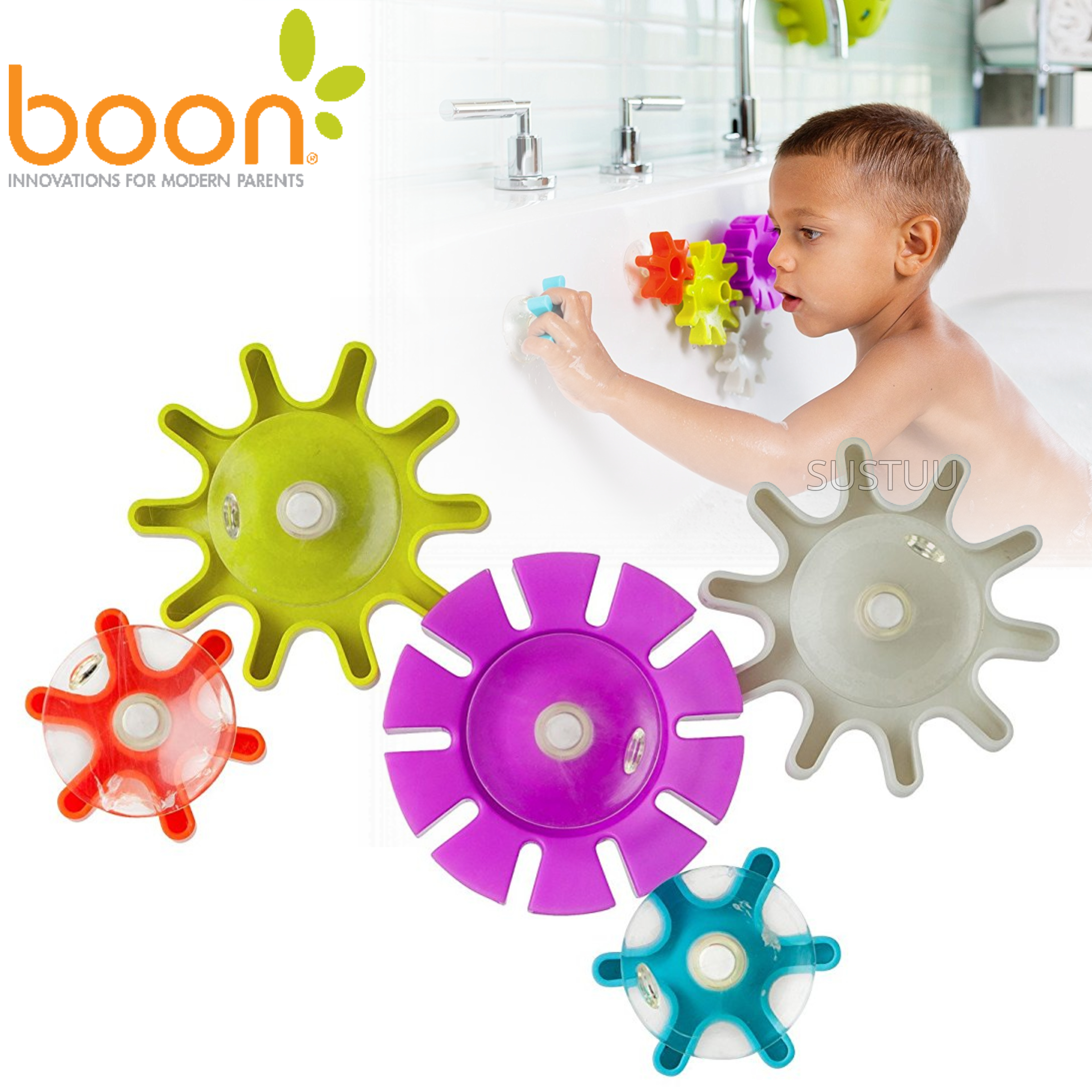 Boon COGS Water Spinning Gears Kids Bath Toy | Toddlers Bathtime Fun Activity | 5Pk
