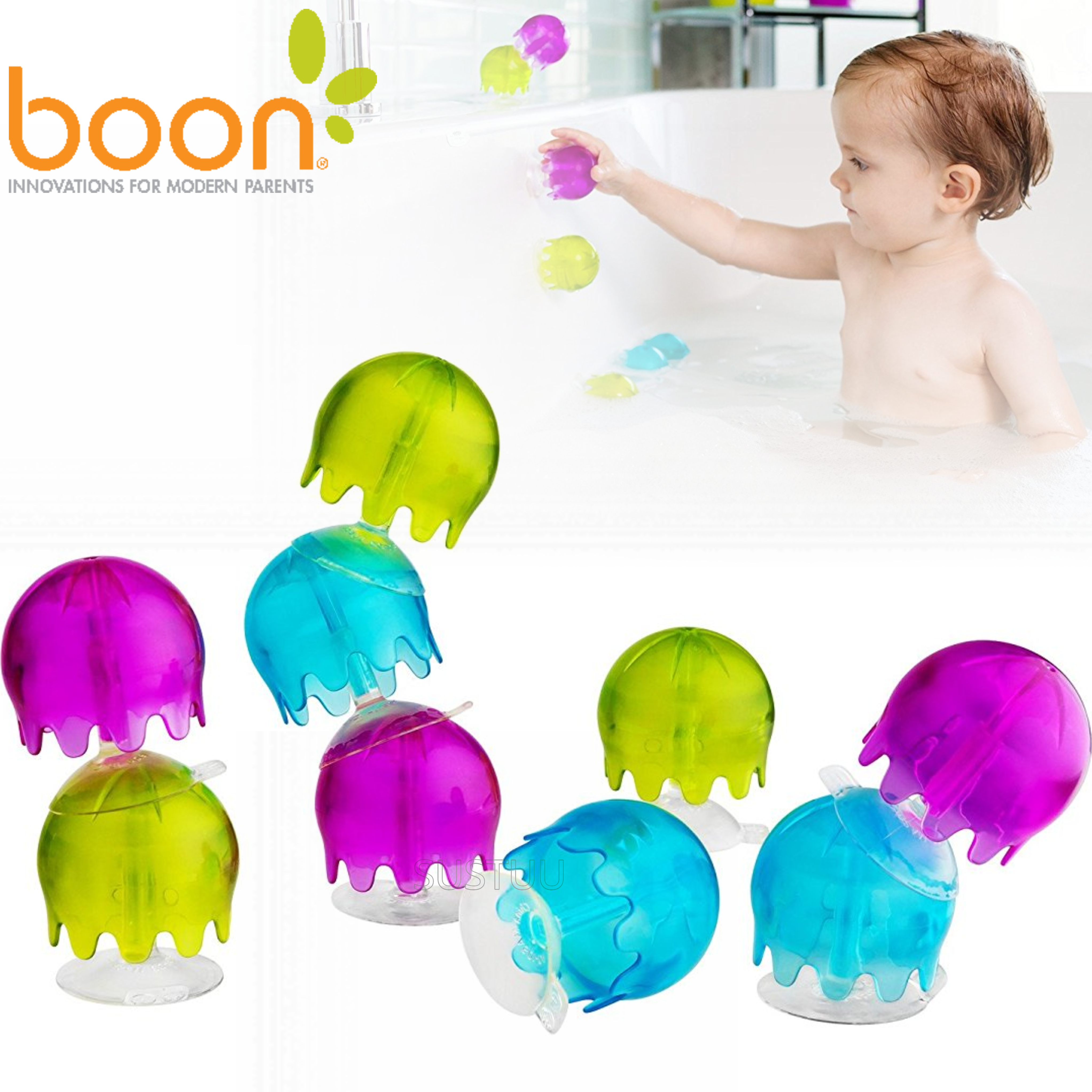 Boon Jellies Suction Cup Toddlers Bath Toys | Kids Bathtime Fun Activity | Pack Of 9