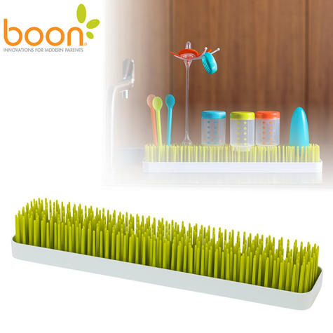 Boon Long Patch Slimline Grass Green Countertop Drying Rack | Kitchen Accessory | BPA Free Thumbnail 1