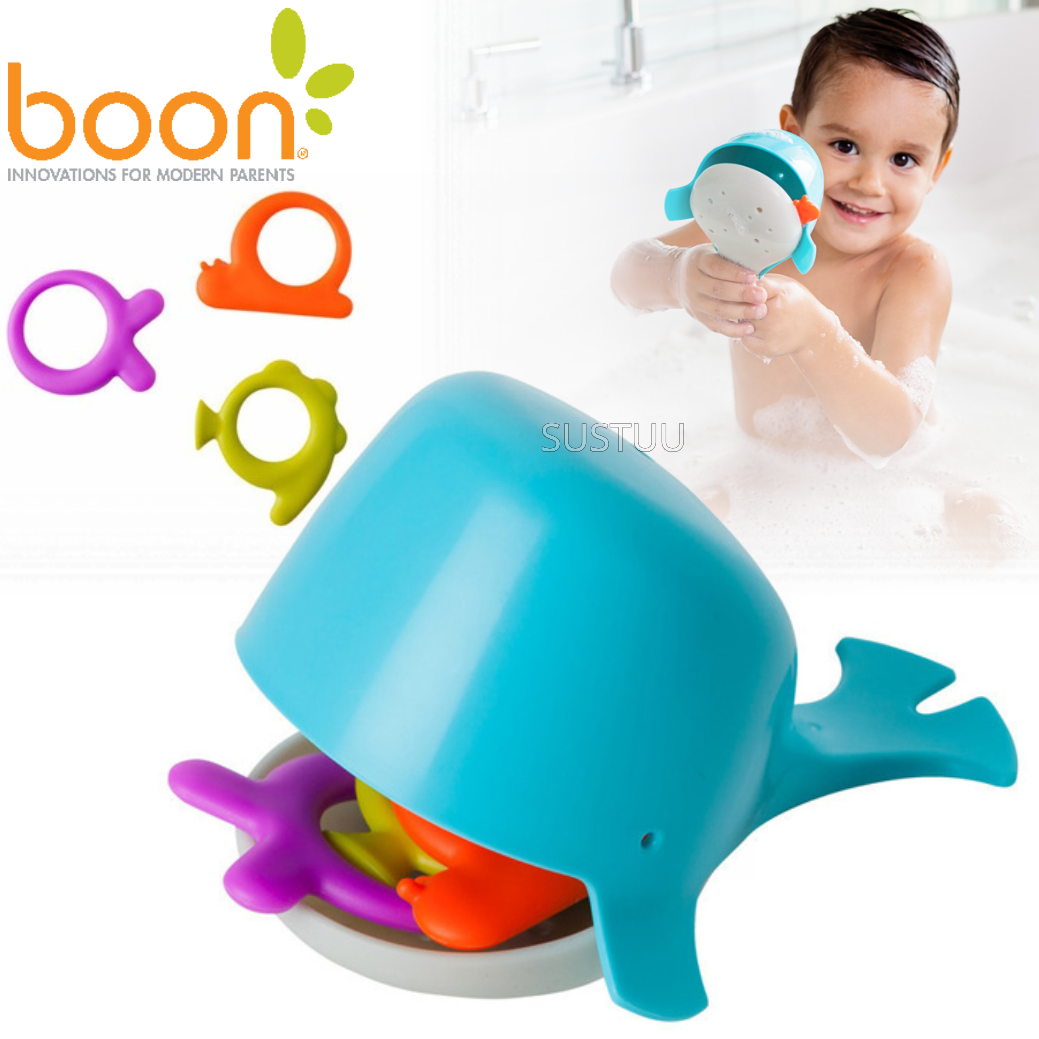 Boon CHOMP Hungry Whale Kids Bath Toy | Toddlers Bathtime Fun Activity | x4 Pieces
