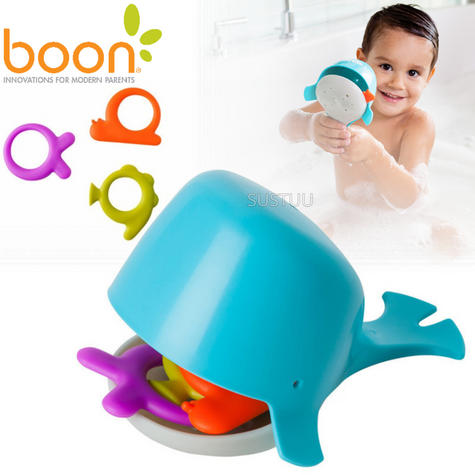 Boon CHOMP Hungry Whale Kids Bath Toy | Toddlers Bathtime Fun Activity | x4 Pieces Thumbnail 1