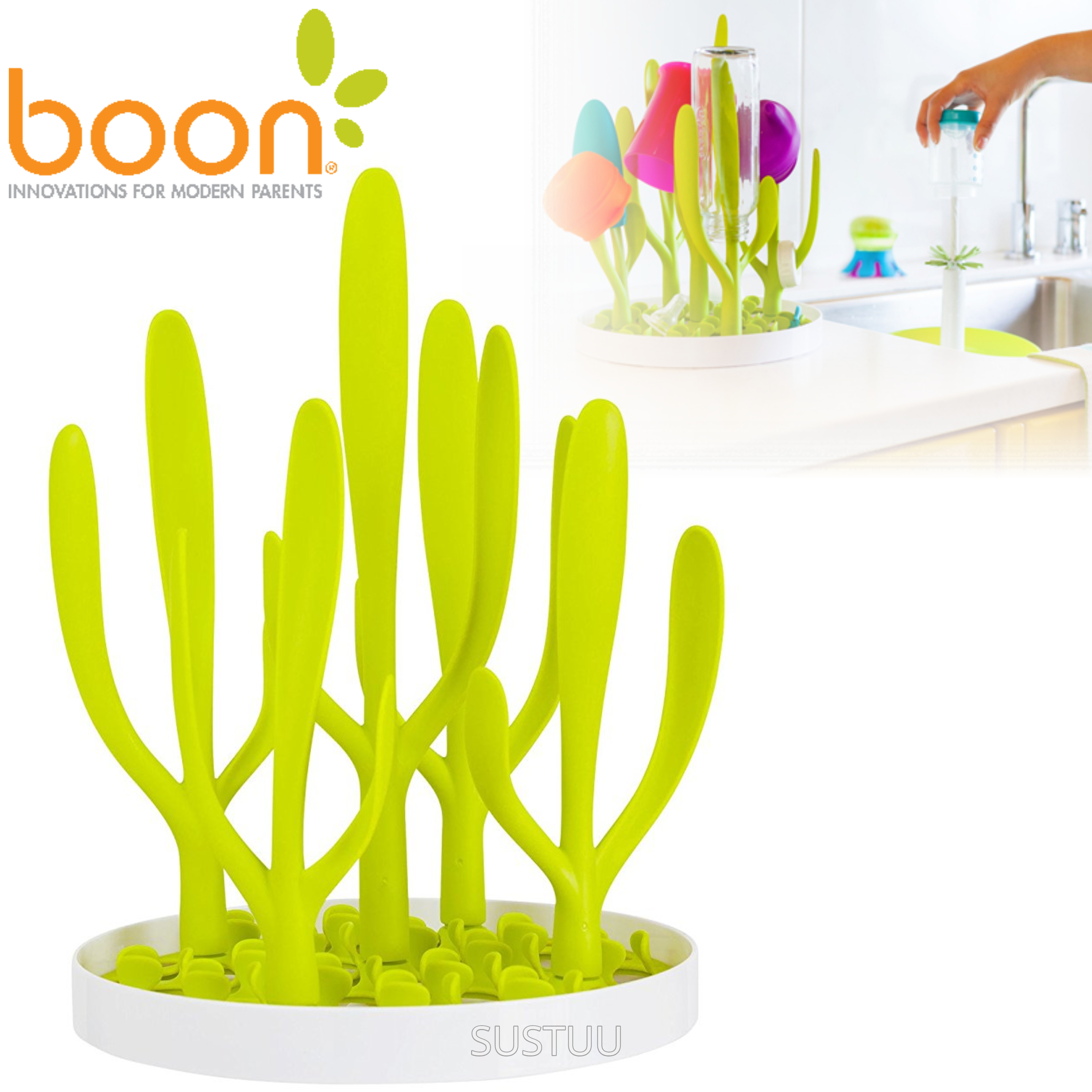 Boon Sprig Vertical Drying Rack Tray | Baby Bottle/Accessory Holder | Easy Storage & Cleaning