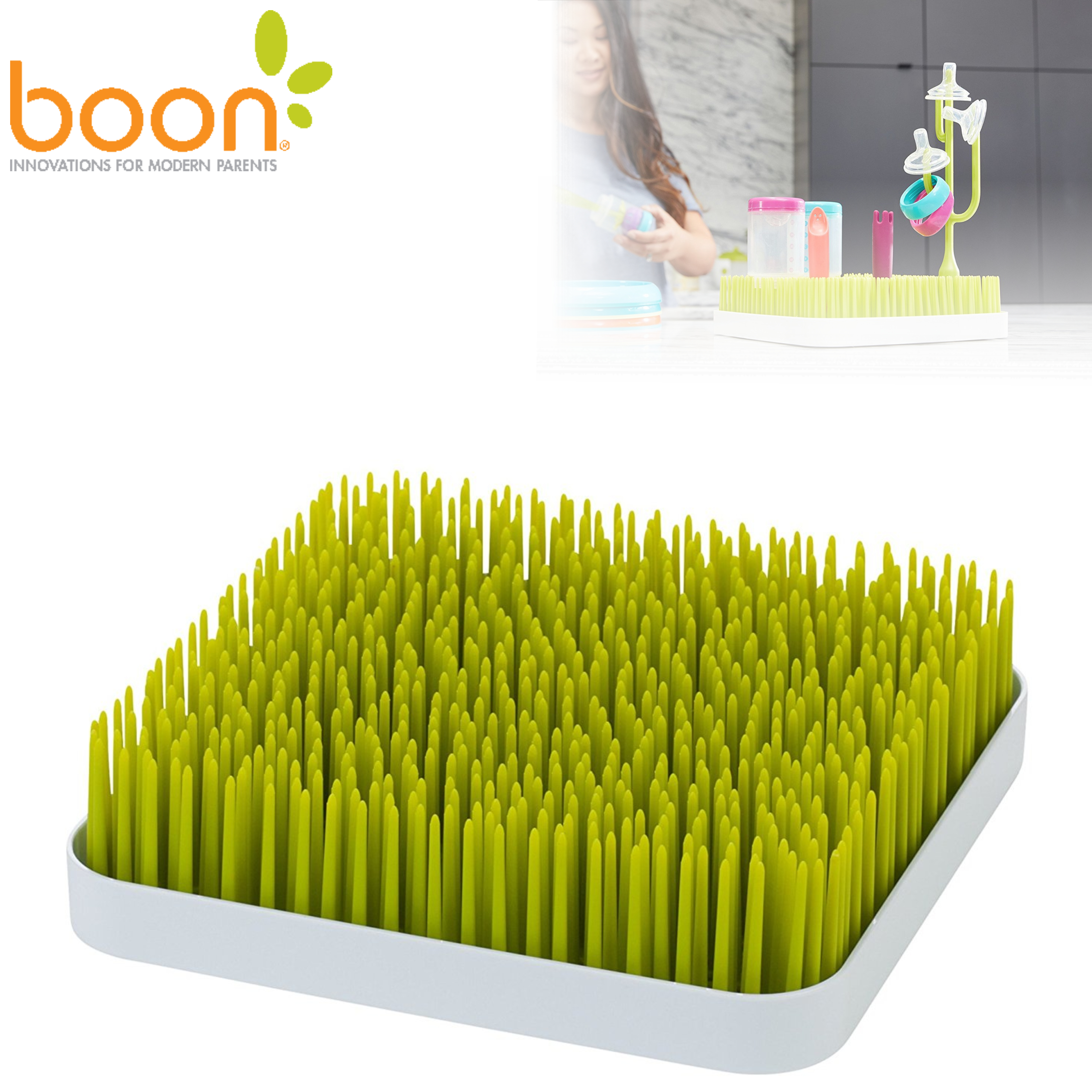 Boon Grass Countertop Baby Bottles/Pots/ Food Containers Drying Rack | BPA-free | Easy-to-Clean