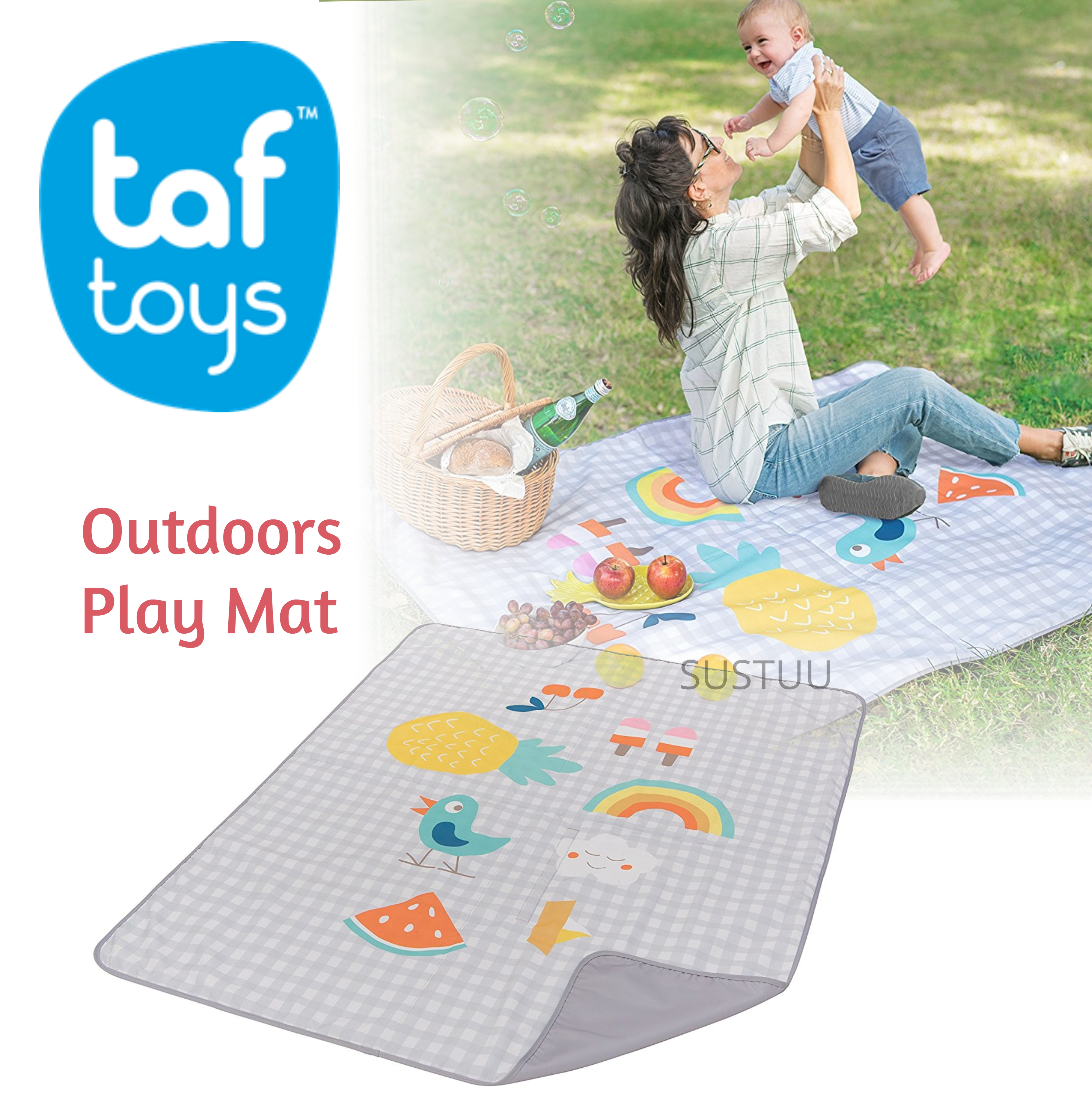 Taf Toys Outdoors Play Mat Toddler Infant Outdoor Playing Activity Rug Bed New Sustuu