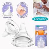 Lansinoh Natural Wave Teat Slow Flow|BPA BPA Free|100% Silicon Soft Flexible|2Pk
