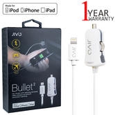 Jivo Bullet 2 In-Car Charger With Captive Lightning USB Cable | JI-1868 | 1.2m White