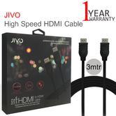 Jivo 3m High Speed Audio-Video HDMI Cable/ Lead | 4K Plug | JI-1988 | Durable | Black