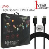 Jivo 5m High Speed Audio-Video HDMI Cable/ Lead | 4K Plug | JI-1989 | Durable | Black