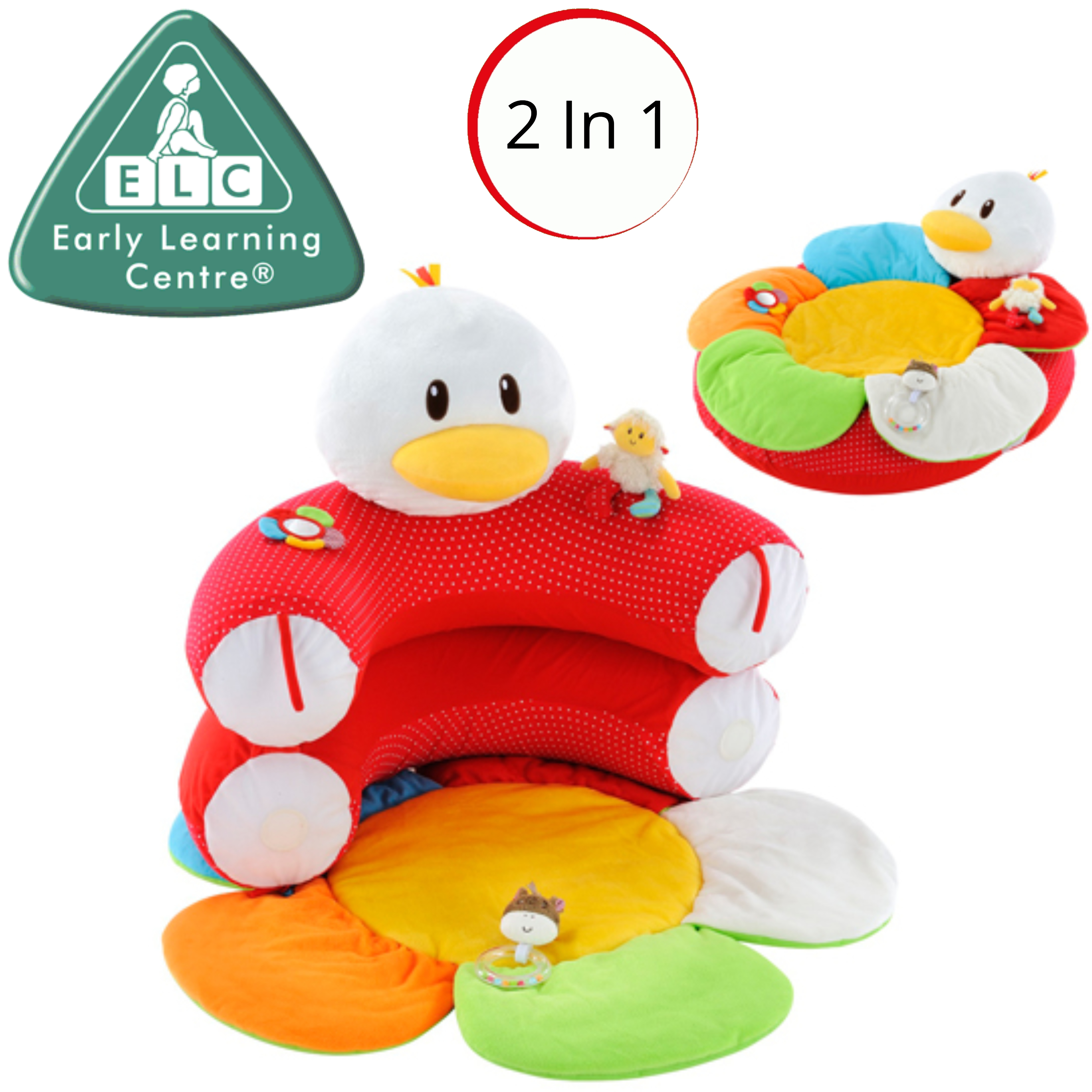 ELC Blossom Farm Gladys Goose Sit Me Up Cosy | Kids Soft Tummytime Play Mat | x3 Toy