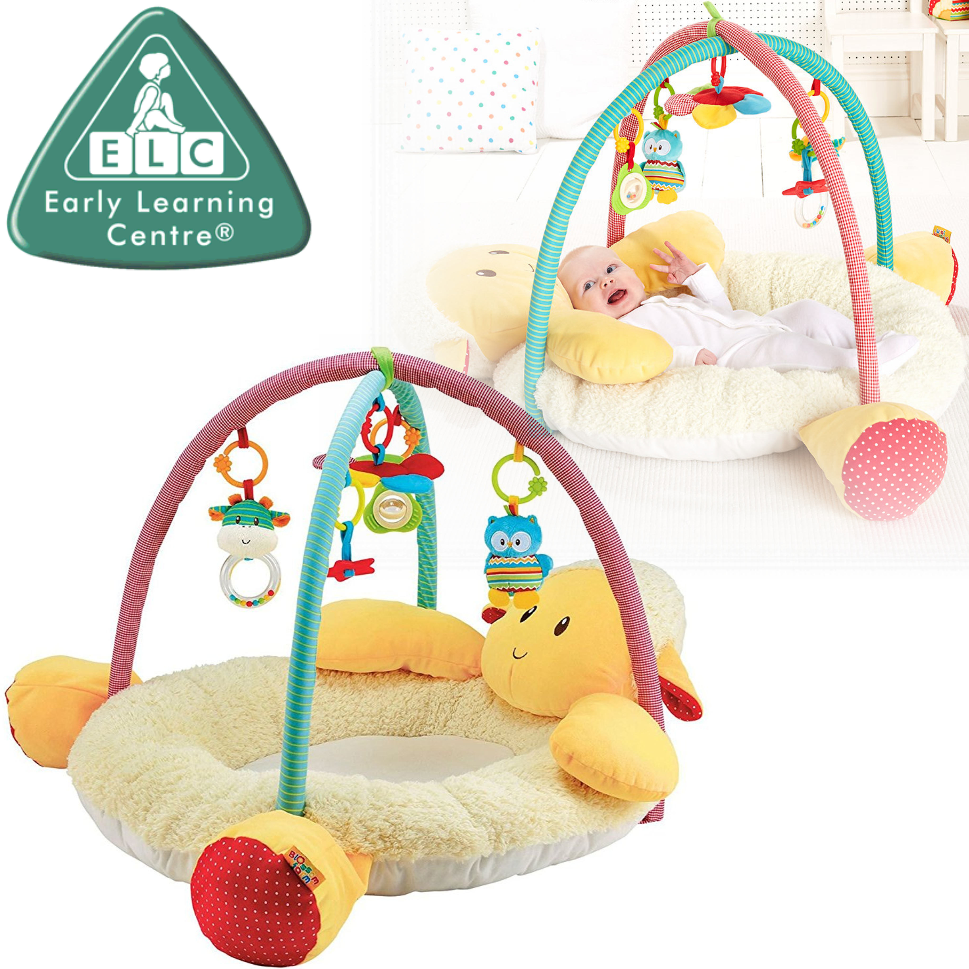 ELC Blossom Farm Snuggle Laurie Lamb Activity Gym | Kids Tummy Time Playmat+5 Toys