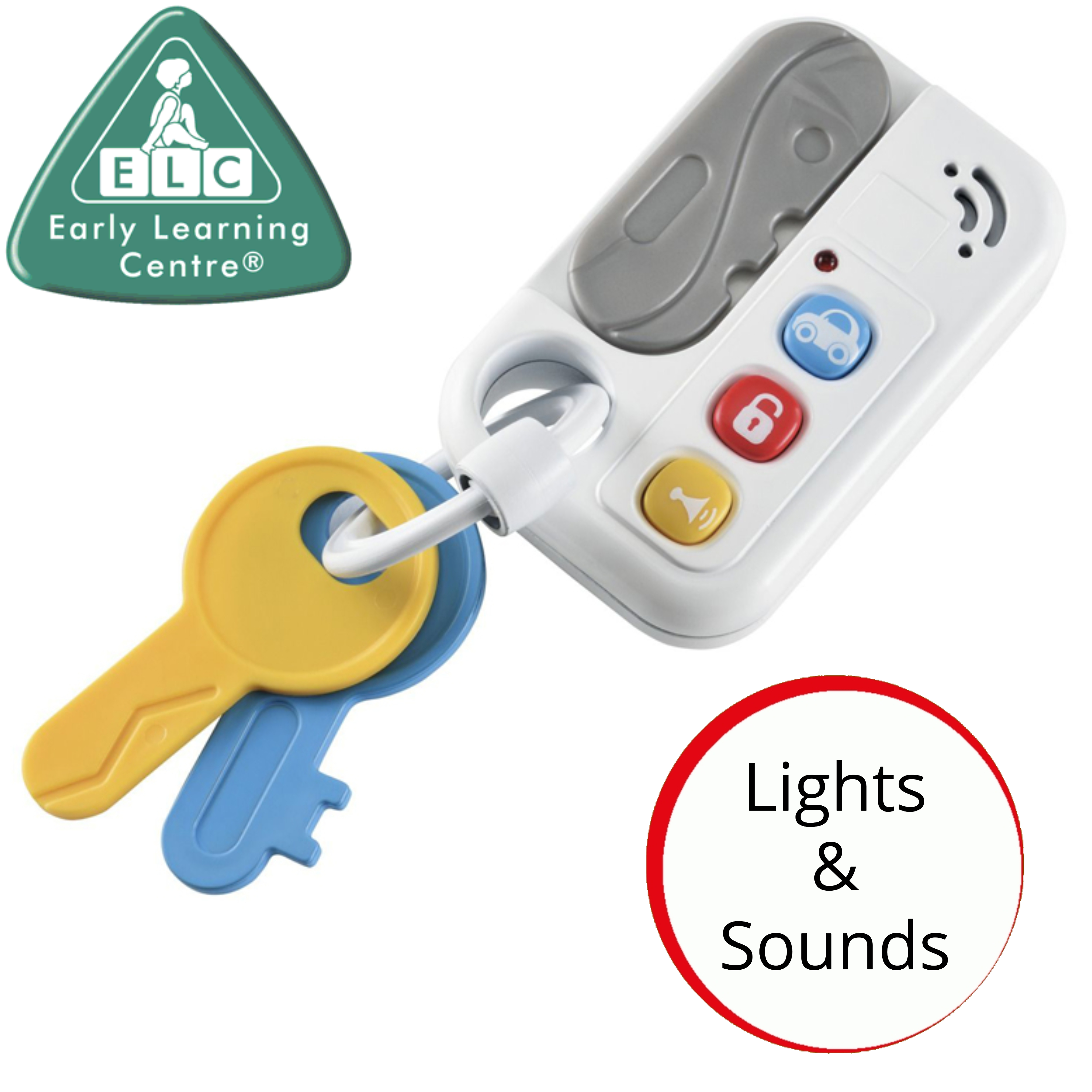 ELC Keys With Lights & Sounds | x3 On A Keyring With Colours & Shapes | Kids Fun Toy