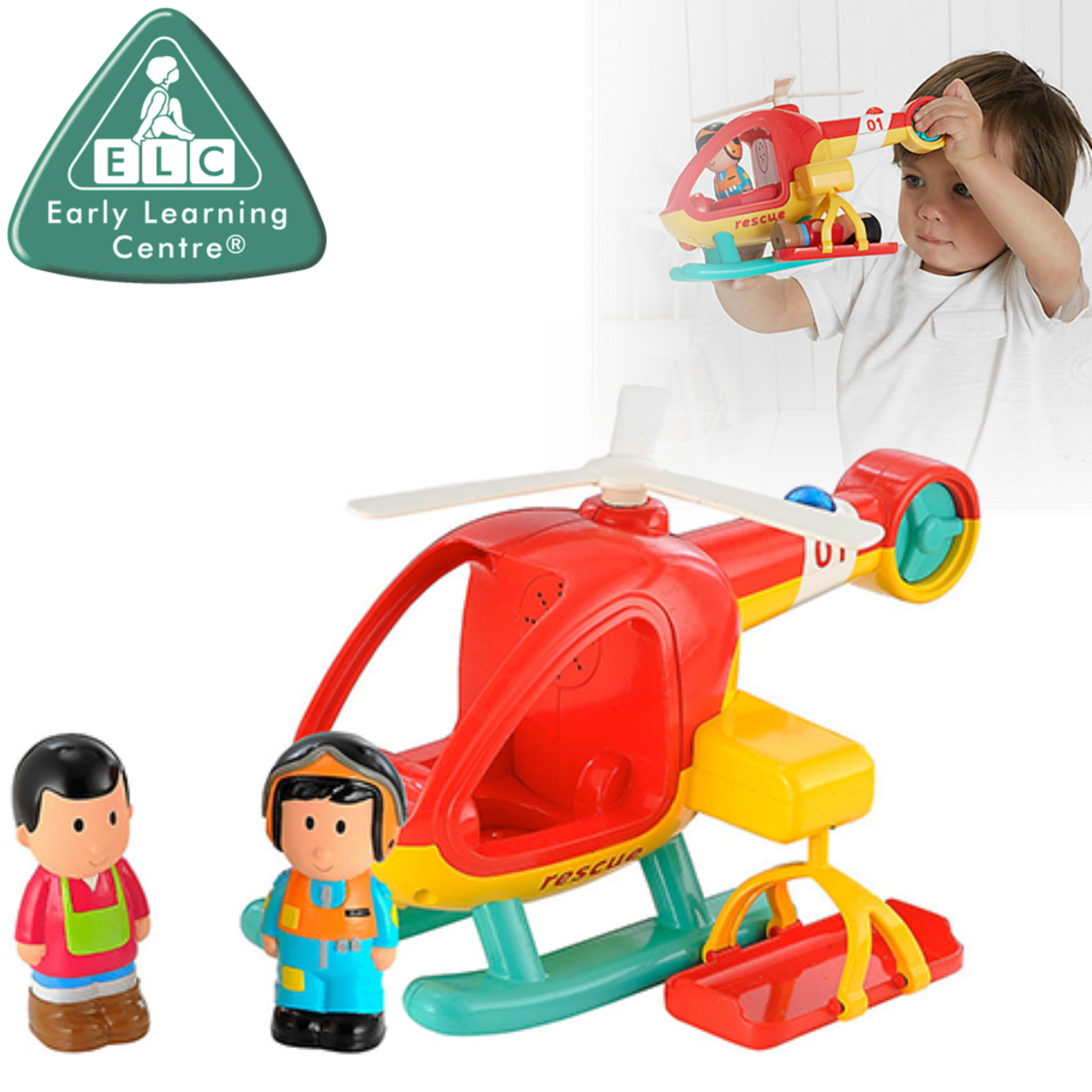 Early Learning Centre Happy Land Helicopter | Baby/ Kids Fun Toy With Light & Sound | +18 Months