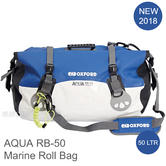 Oxford AQUA RB-50 Roll Bag|Fully Waterproof|For Water Sports/ Marine|50 L|White/Blue