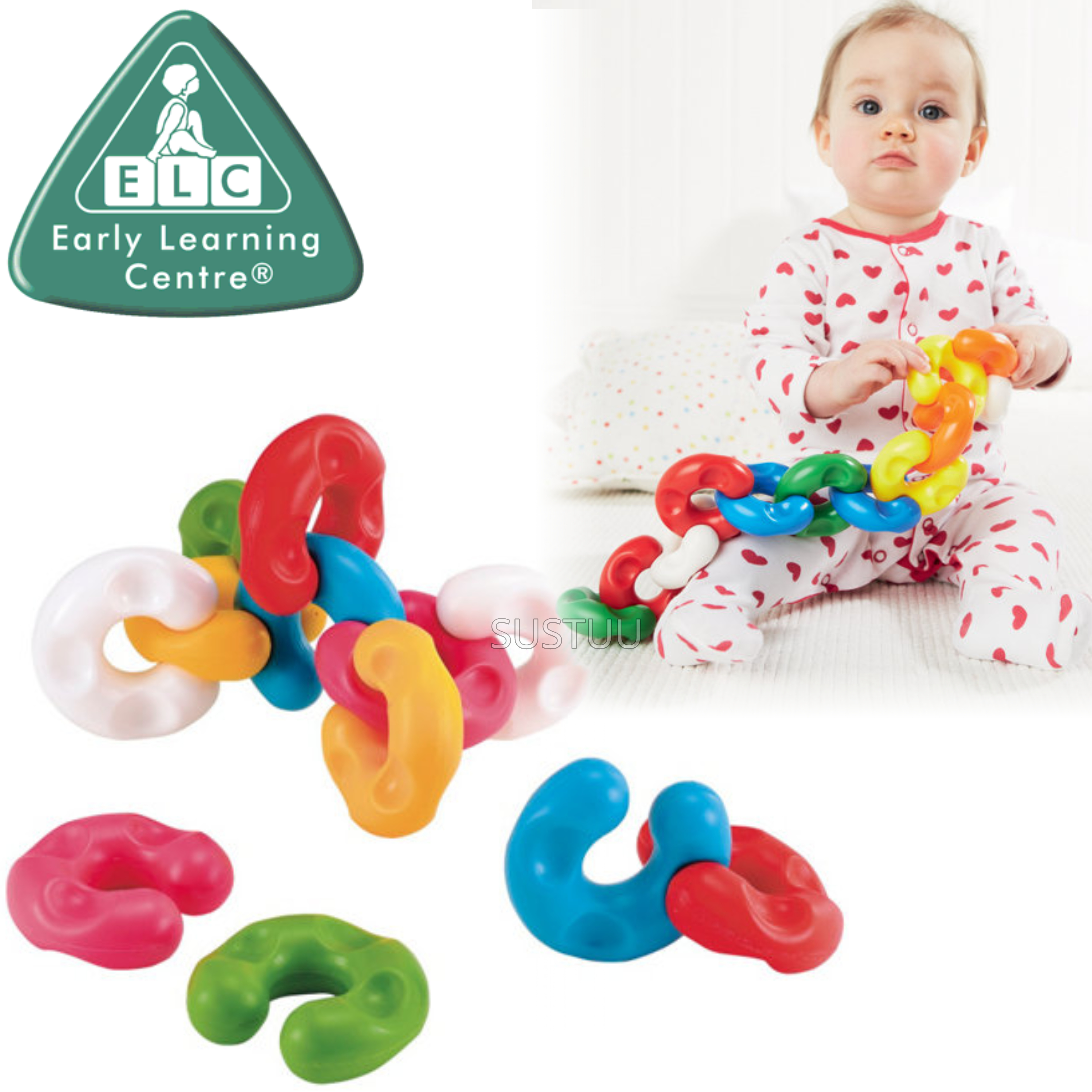 ELC Chain Like Link x12 | Kids Brightly Coloured Chunky Toy Can Also Use As Teether