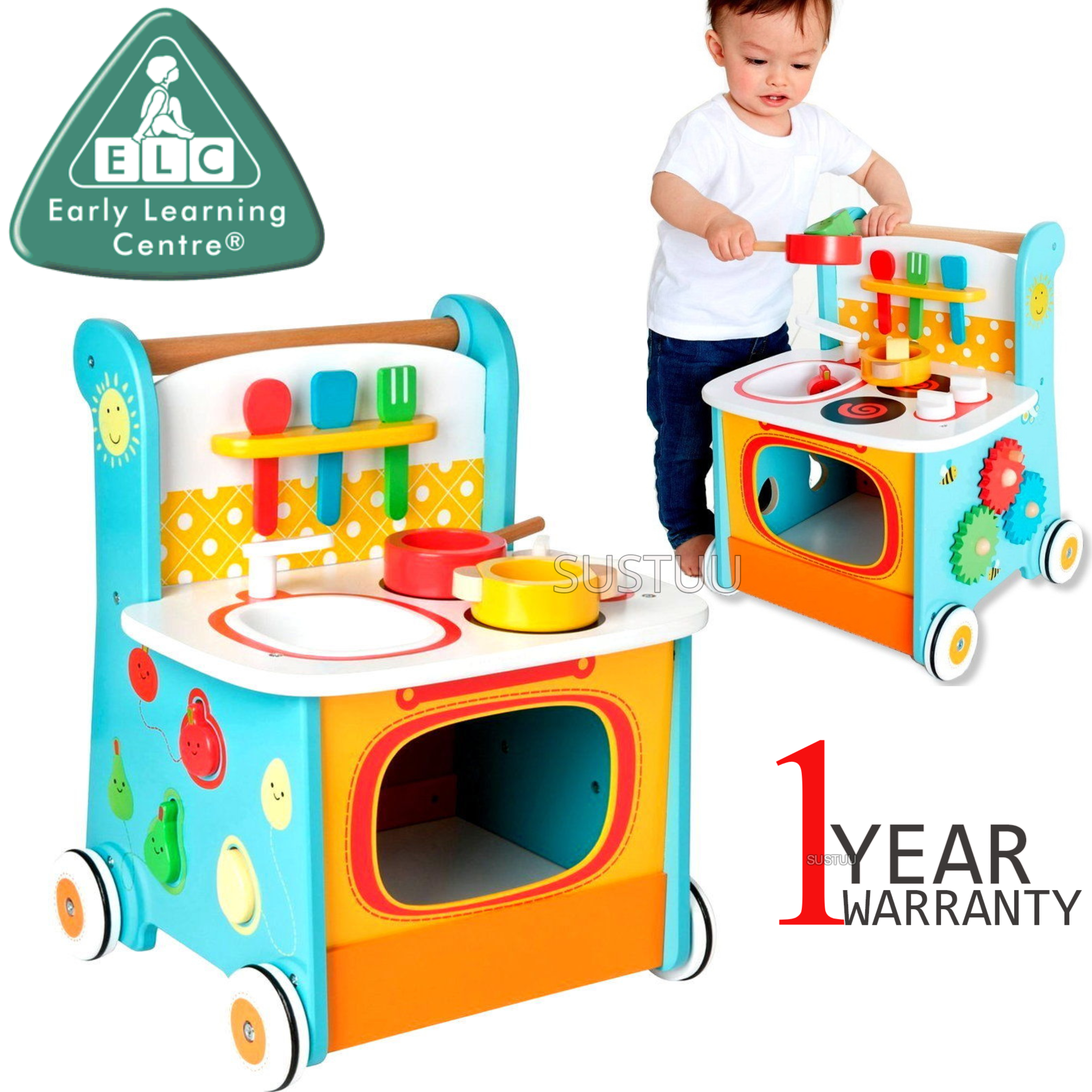 Early Learning Centre Wooden Kitchen Walker | Baby/ Kids Learning Activity Toy | +12m