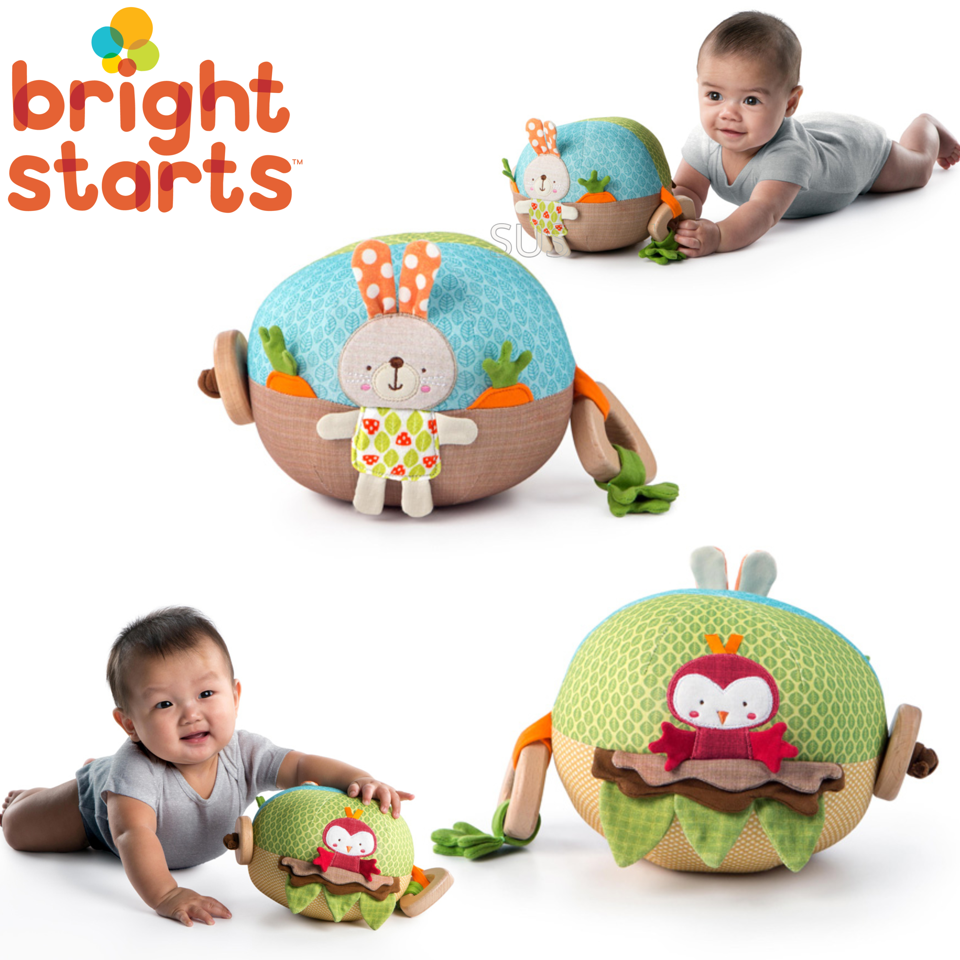 Bright Starts Garden Ball | Baby/ kid's Soft Plush Playtime Toy+Teether | With Sound | +3 Months