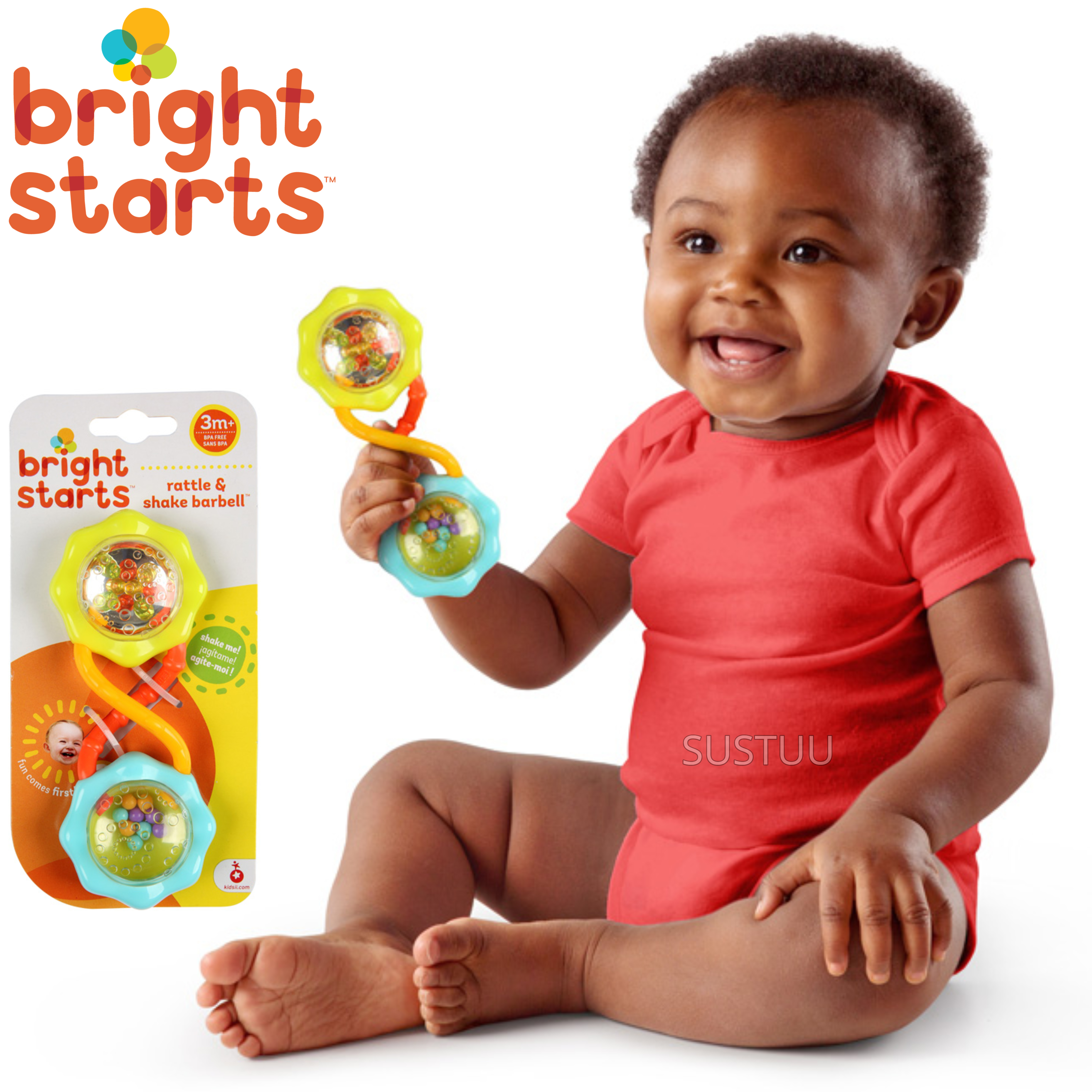 Bright Starts Rattle and Shake Barbell | Clear Rattle With Colourful Beads+Mirror
