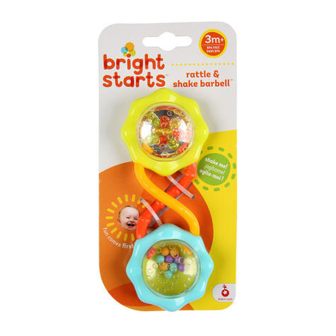 Bright Starts Rattle and Shake Barbell | Clear Rattle With Colourful Beads+Mirror Thumbnail 4