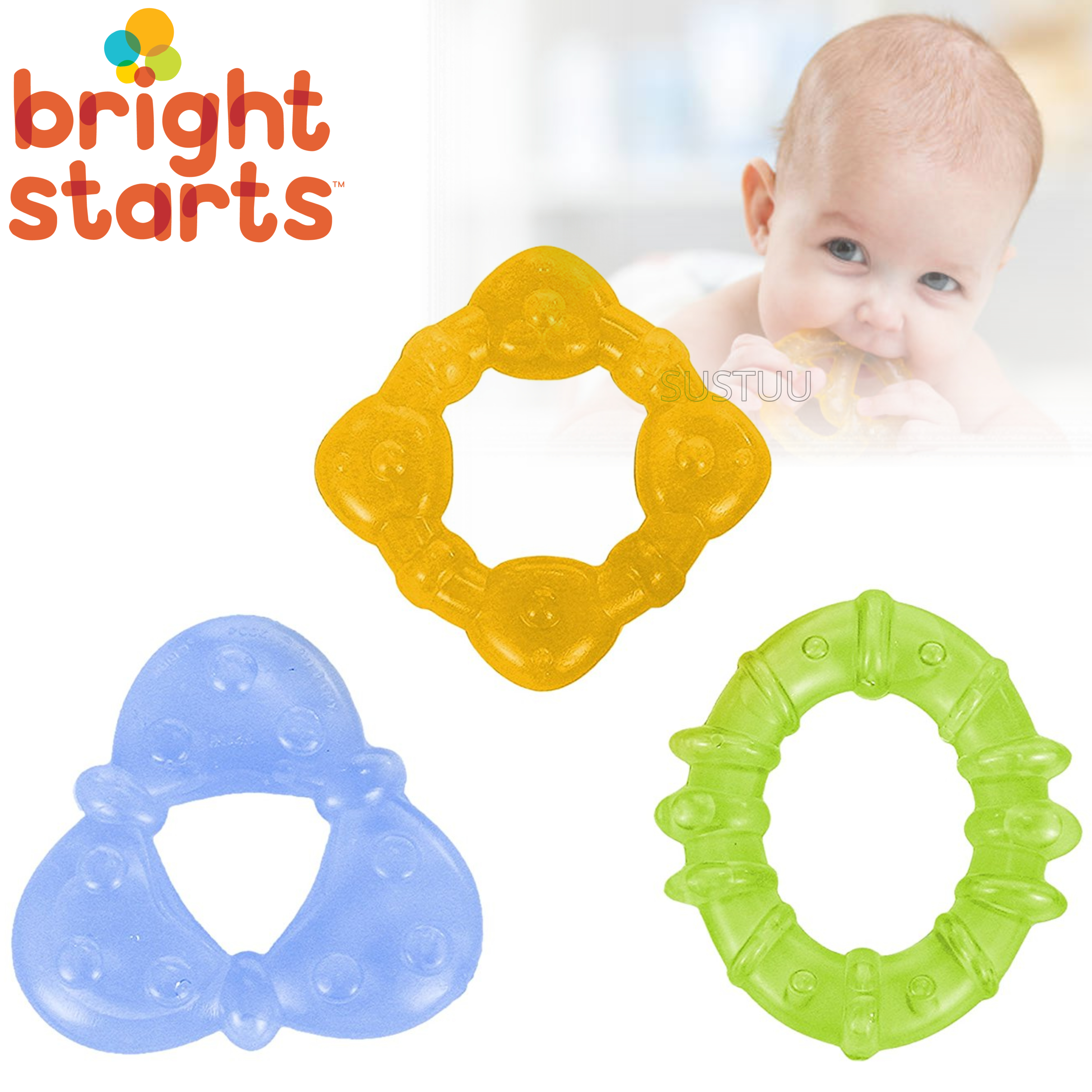 Bright Starts Chill & Teethe Teether Set | Baby's Fun Coloured Water-Filled Dummy