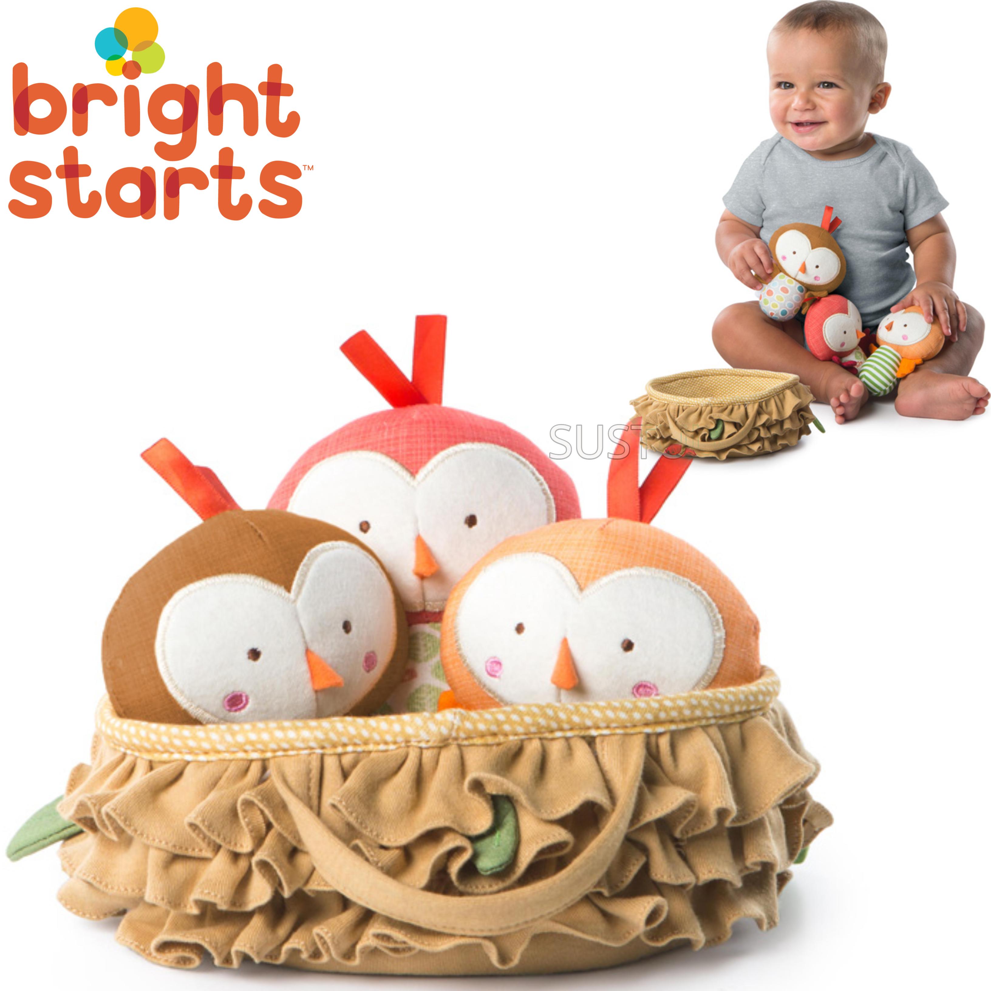 Bright Starts Tweeting Birds in a Nest Set | Baby/ Kid's Soft Plush Toy | With Sound | +3 Months