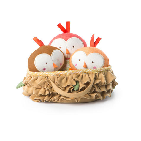 Bright Starts Tweeting Birds in a Nest Set | Baby/ Kid's Soft Plush Toy | With Sound | +3 Months Thumbnail 2
