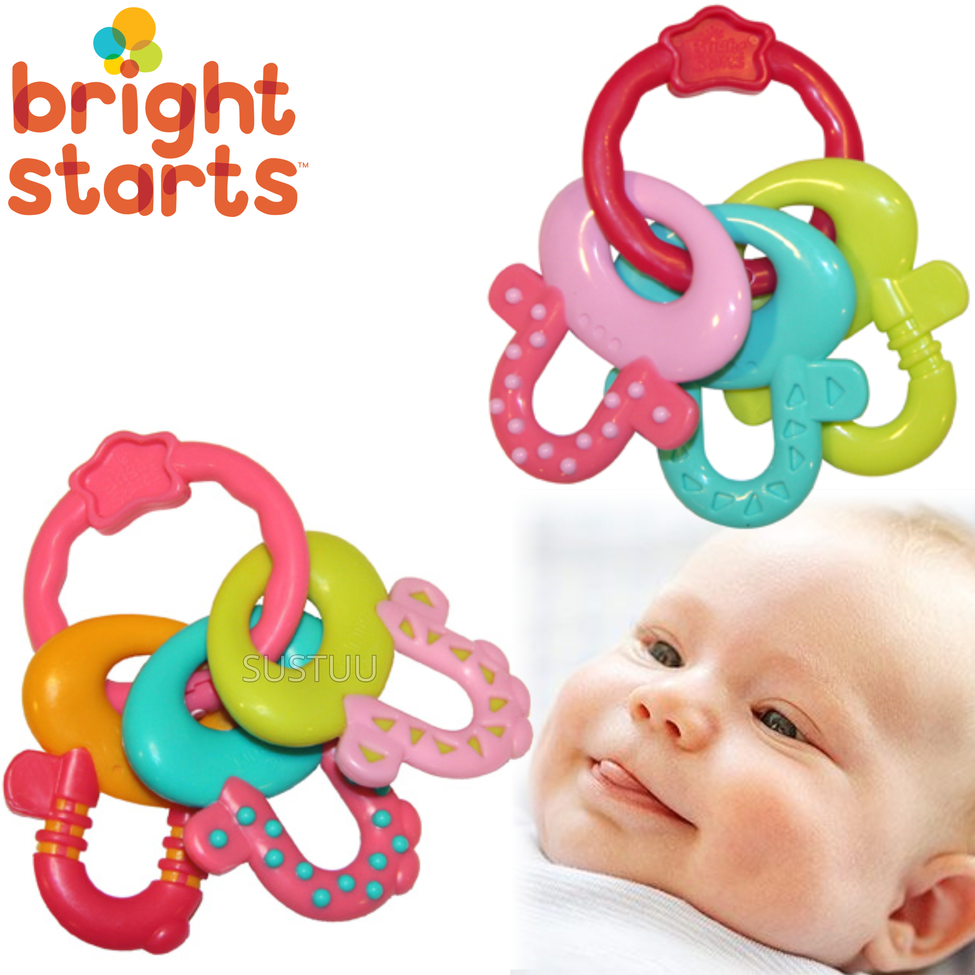 Bright Starts Pink Licence To Drool Teether Keys | Easy For Baby To Hold & In Fun