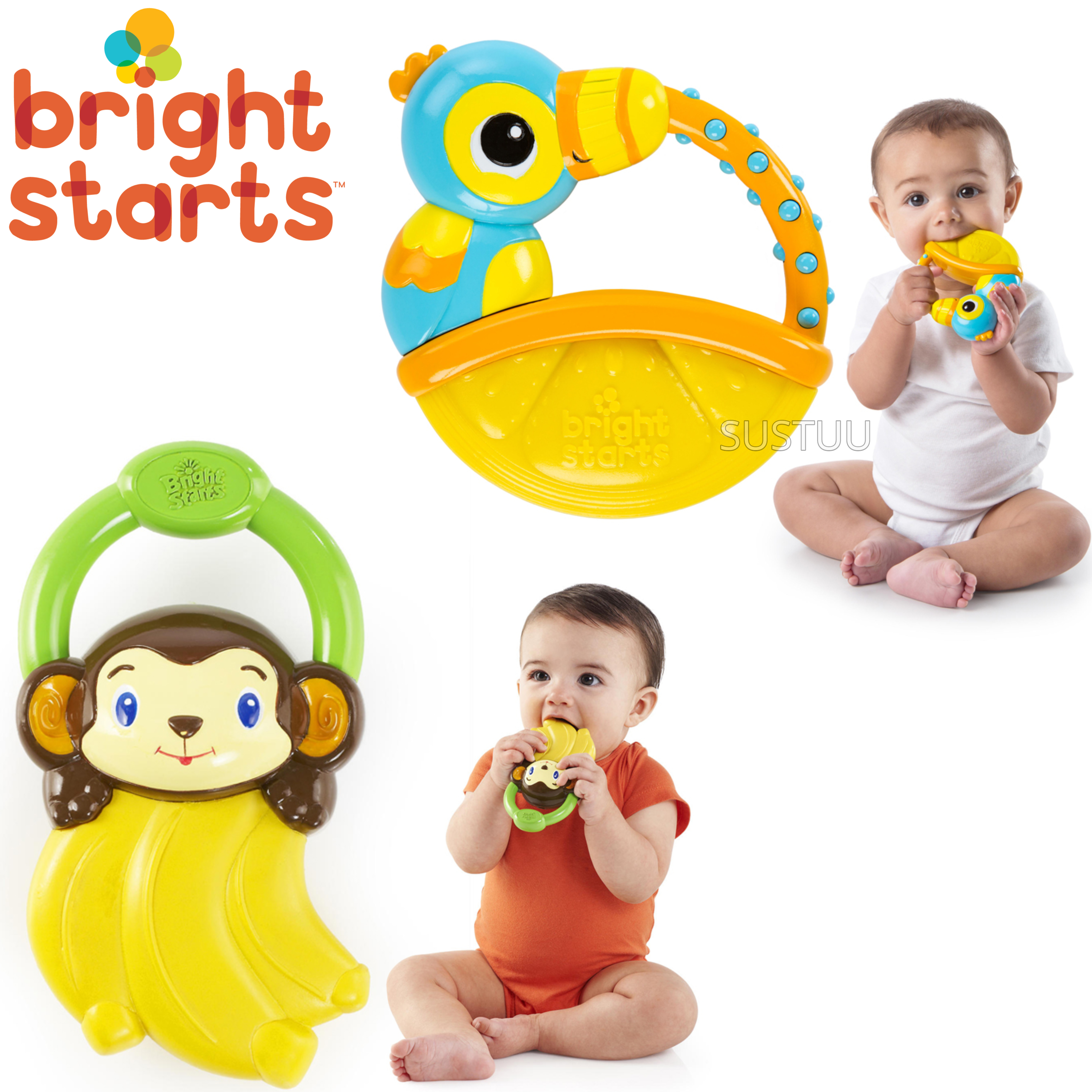 Bright Starts Vibrating Teethers Assortment | Baby/Toddler's Gummy Textured Dummy