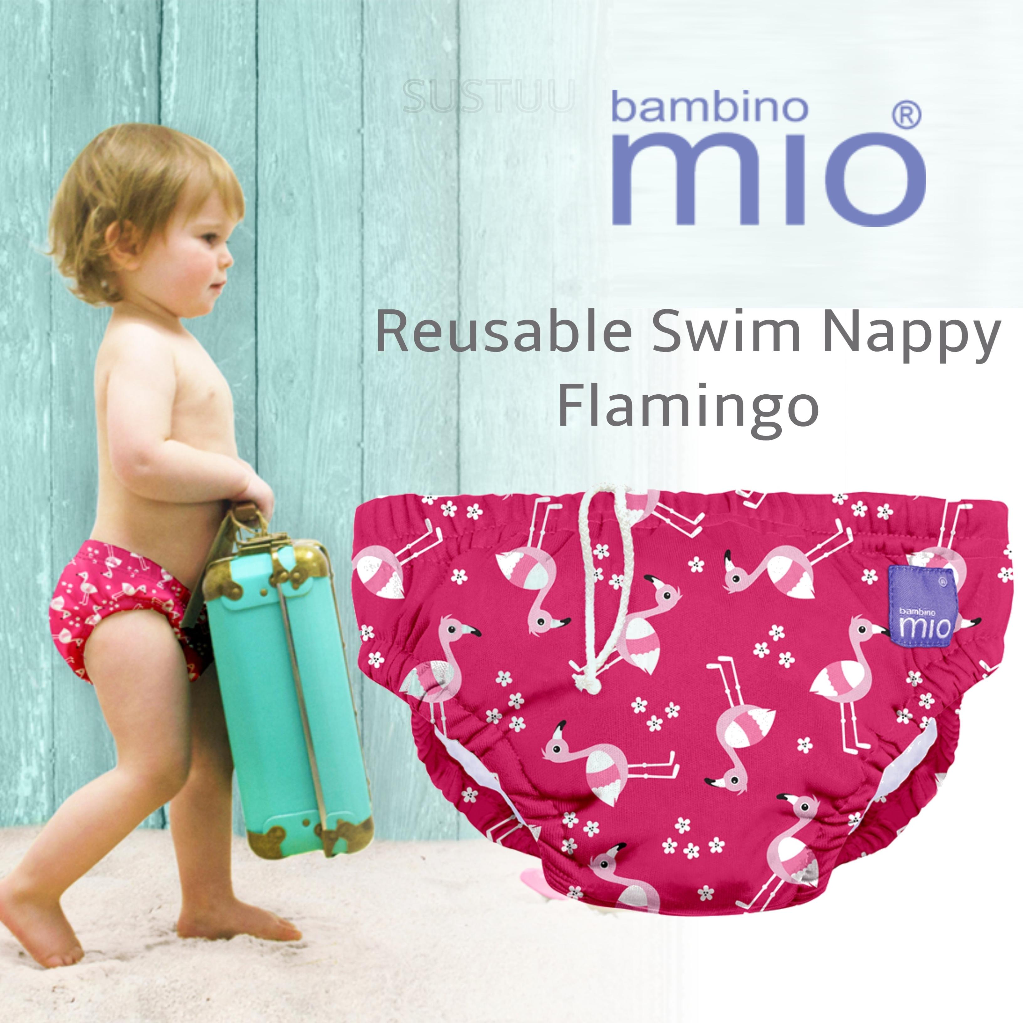 Bambino Mio Reusable Swim Nappy Flamingo|Water Resistant Layer|Soft Cotton|6-12m