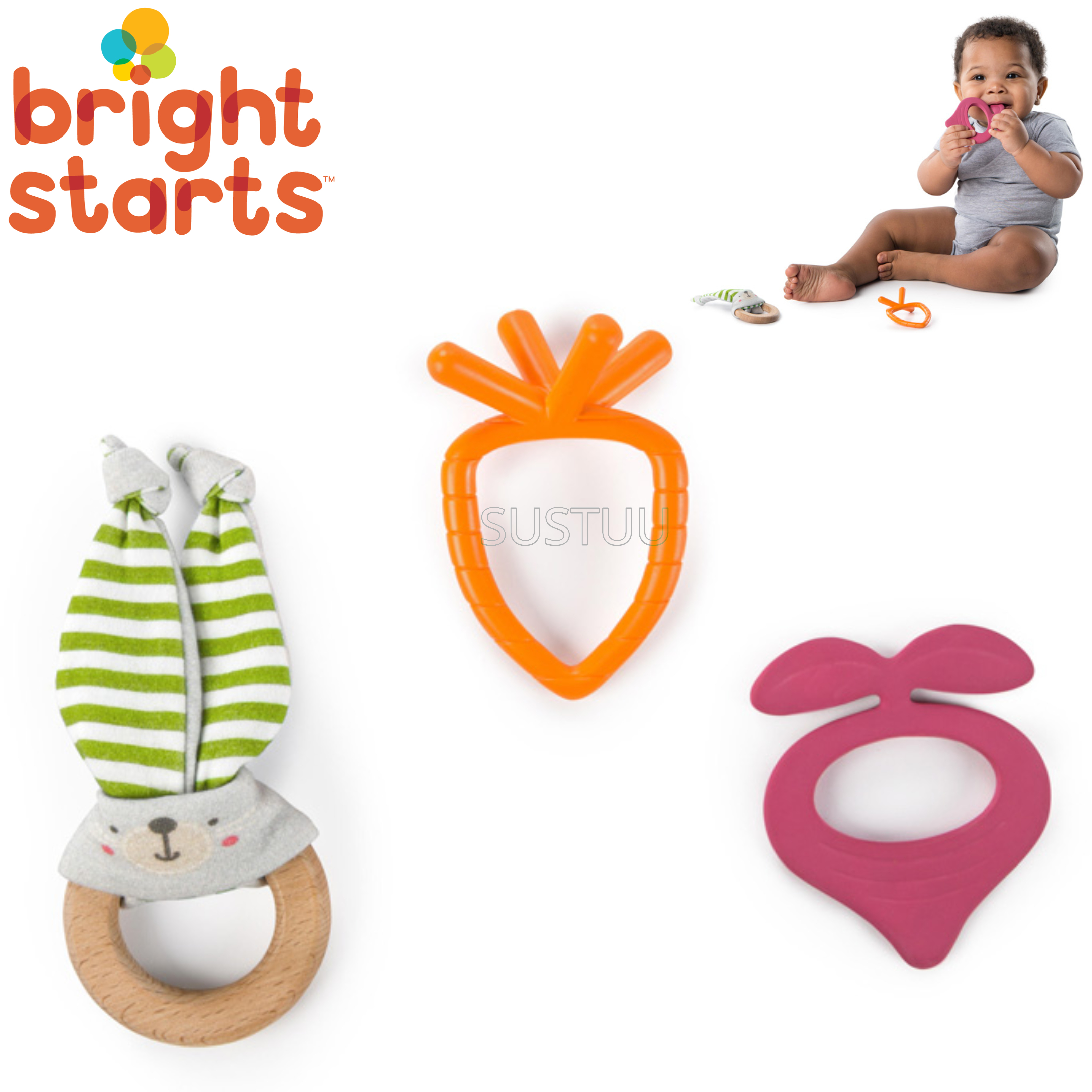 Bright Starts Simply Naturals Teether Set | Baby/ Kid's Chewy Toy/Pacifier/Soother | +3 Months