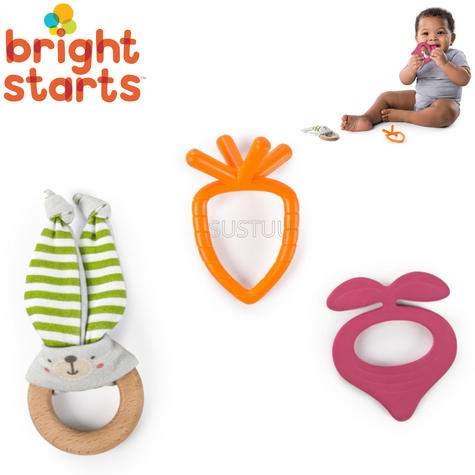 Bright Starts Simply Naturals Teether Set | Baby/ Kid's Chewy Toy/Pacifier/Soother | +3 Months Thumbnail 1