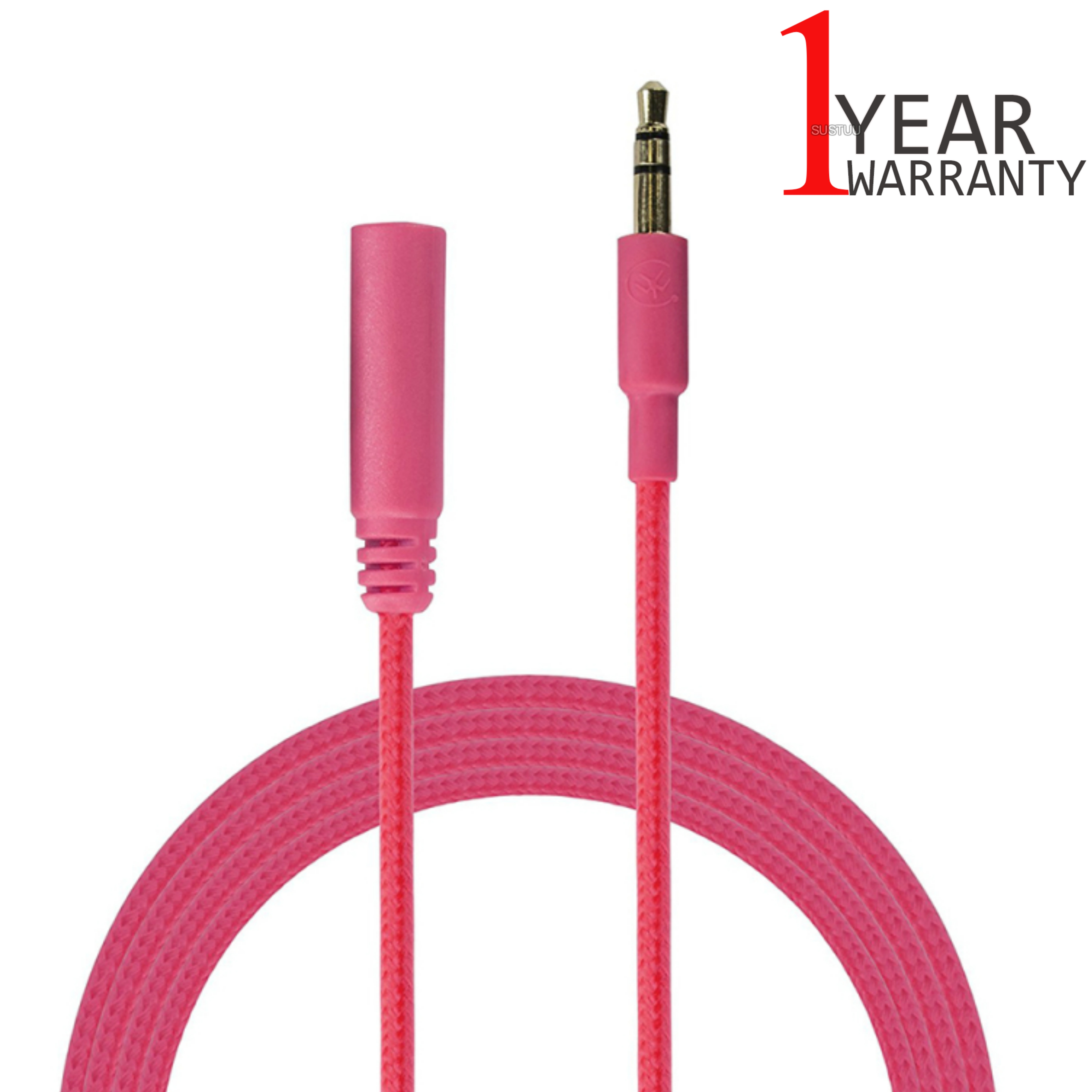 Urbanz 1M Audio Extension Durable Aux Incredi-Cable|3.5mm Corded Jack|Pink