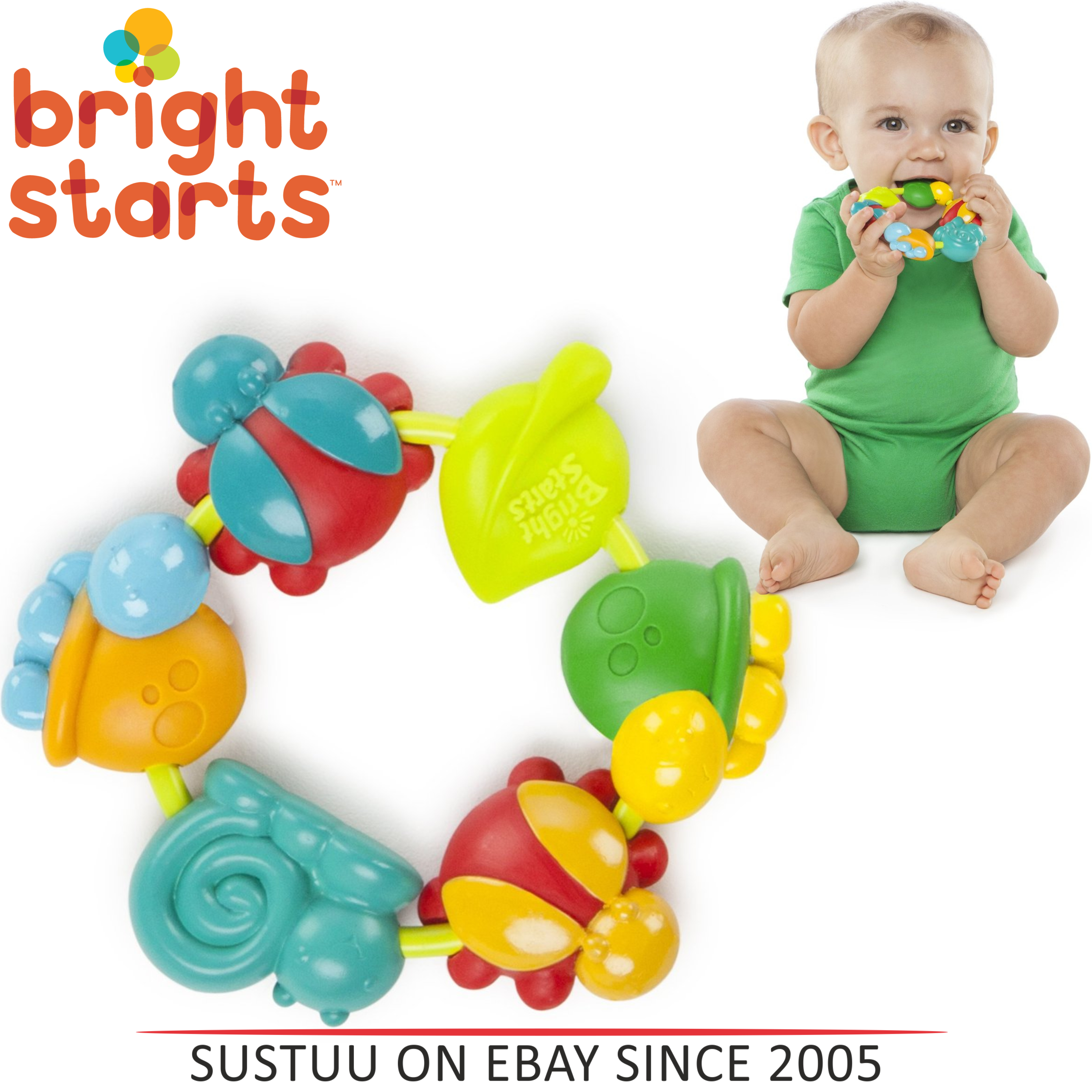 Bright Starts Buggie Bites Teether For Baby | Bright,Colorful & Teethable Beads