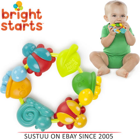 Bright Starts Buggie Bites Teether For Baby | Bright,Colorful & Teethable Beads Thumbnail 1