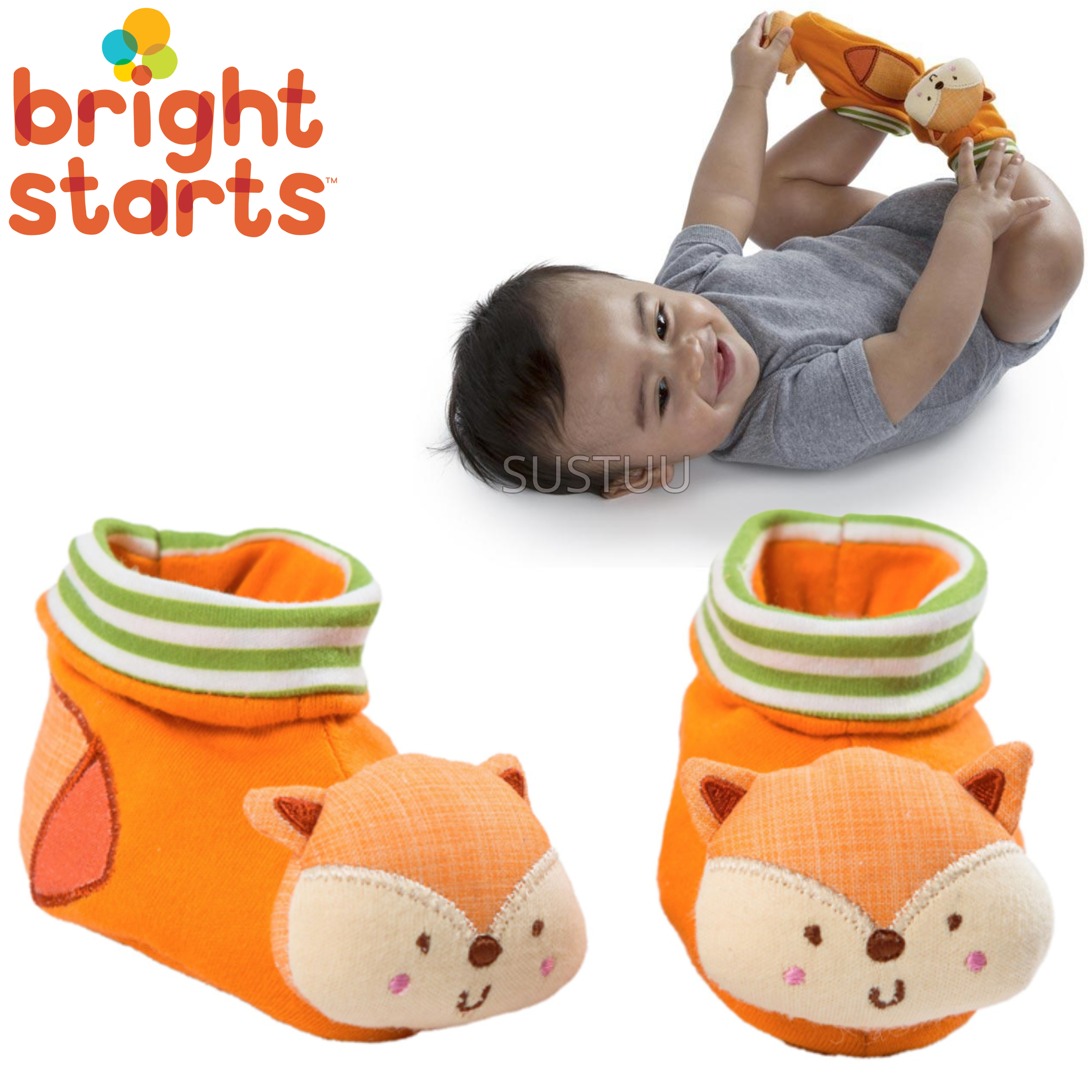 Bright Starts Simply Naturals Organic Shakin Woodland Booties   Baby's Rattles Toy   +0  Months