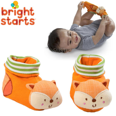 Bright Starts Simply Naturals Organic Shakin Woodland Booties   Baby's Rattles Toy   +0  Months Thumbnail 1