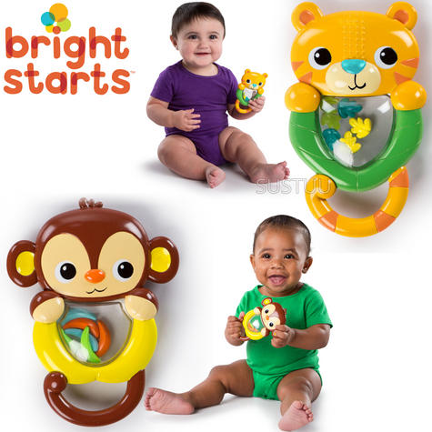 Bright Starts Shakin Safari Rattles | Colourful Baby/kid/Toodler's Toy | With Sound | +3 Months Thumbnail 1