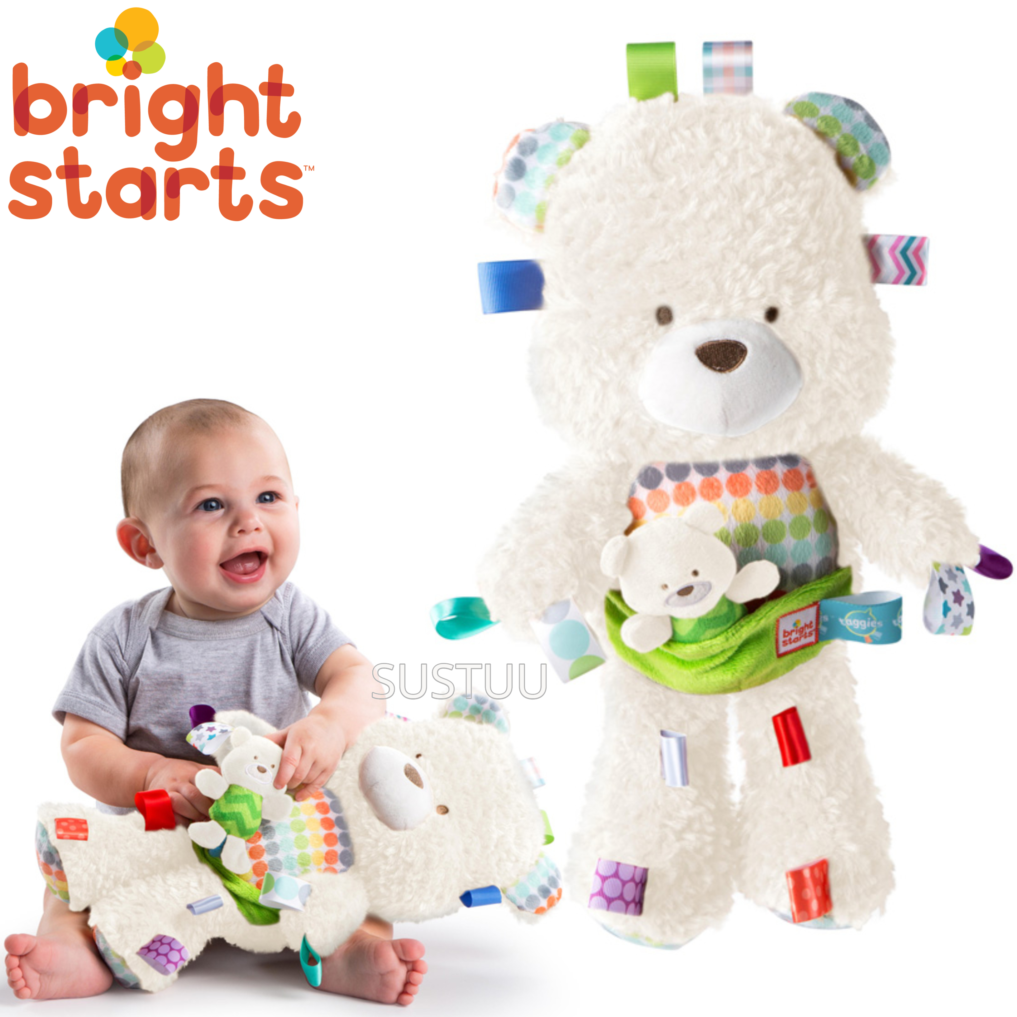 Bright Starts Taggies Snuggle & Play Bear With Chime?Baby/ Kid's Soft Teddy Toy?+0 Months