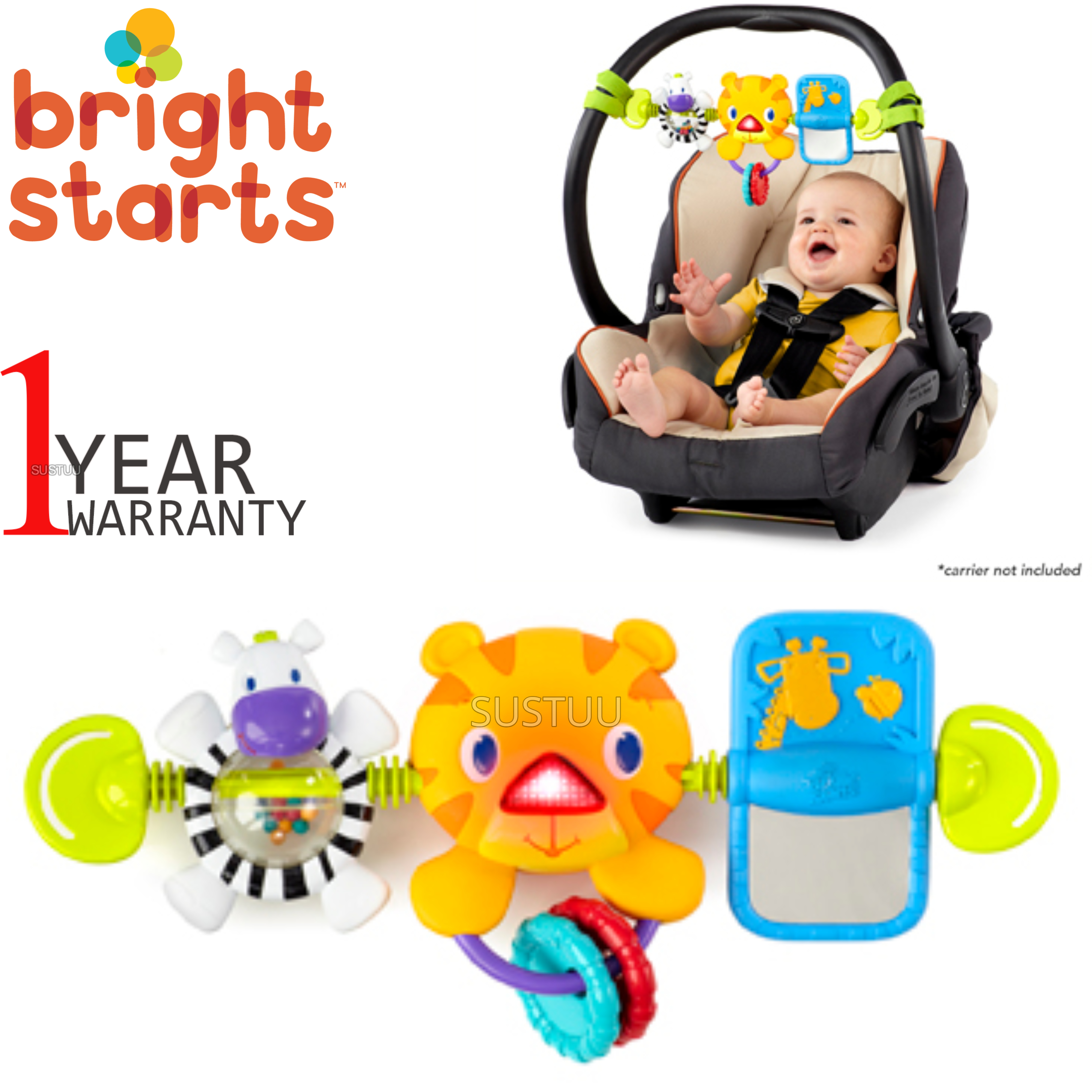 Bright Starts Take Along Kids Toy Bar   Clip on CarSeat/Carriers   With Lights+Songs