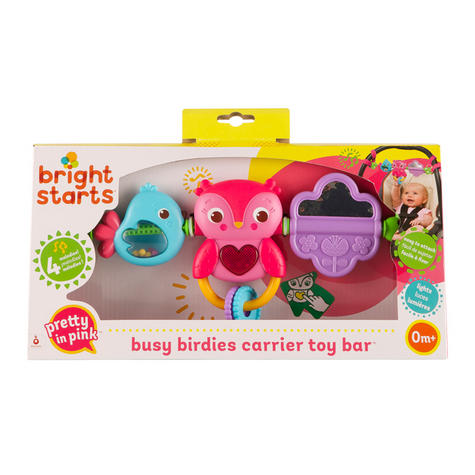 Bright Starts Busy Birdies Baby Girls Carrier Toy Bar | Clip on CarSeat/Carriers Thumbnail 6