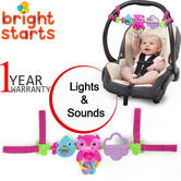 Bright Starts Busy Birdies Baby Girls Carrier Toy Bar | Clip on CarSeat/Carriers